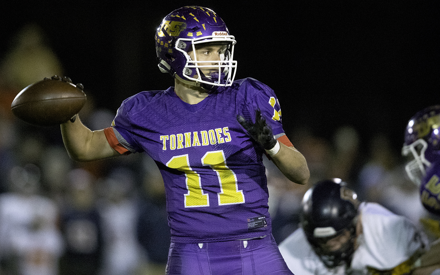 Taylorville's Brandon Odam throws a pass against Rochester during the Class 4A quarterfinals in Taylorville Saturday, Nov. 10, 2018. [Ted Schurter/The State Journal-Register]