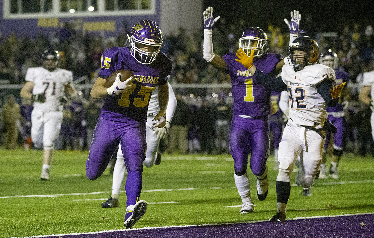 Taylorville's Justin Wright scores against Rochester in the first half during the Class 4A quarterfinals in Taylorville Saturday, Nov. 10, 2018. [Ted Schurter/The State Journal-Register]