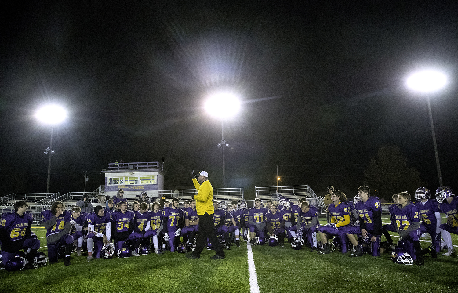 Taylorville head coach Jeb Odam talks to the team after a loss to Rochester during the Class 4A quarterfinals in Taylorville Saturday, Nov. 10, 2018. [Ted Schurter/The State Journal-Register]