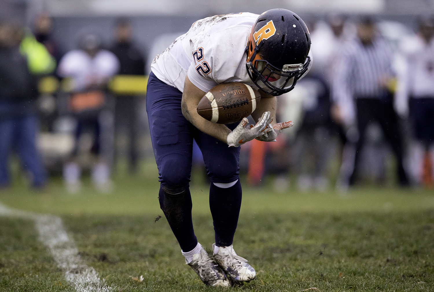 Rochester's Jarrett Reed grabs a kickoff during the Class 4A semifinal at Kankakee Bishop McNamara Saturday, Nov. 17, 2018. [Ted Schurter/The State Journal-Register]