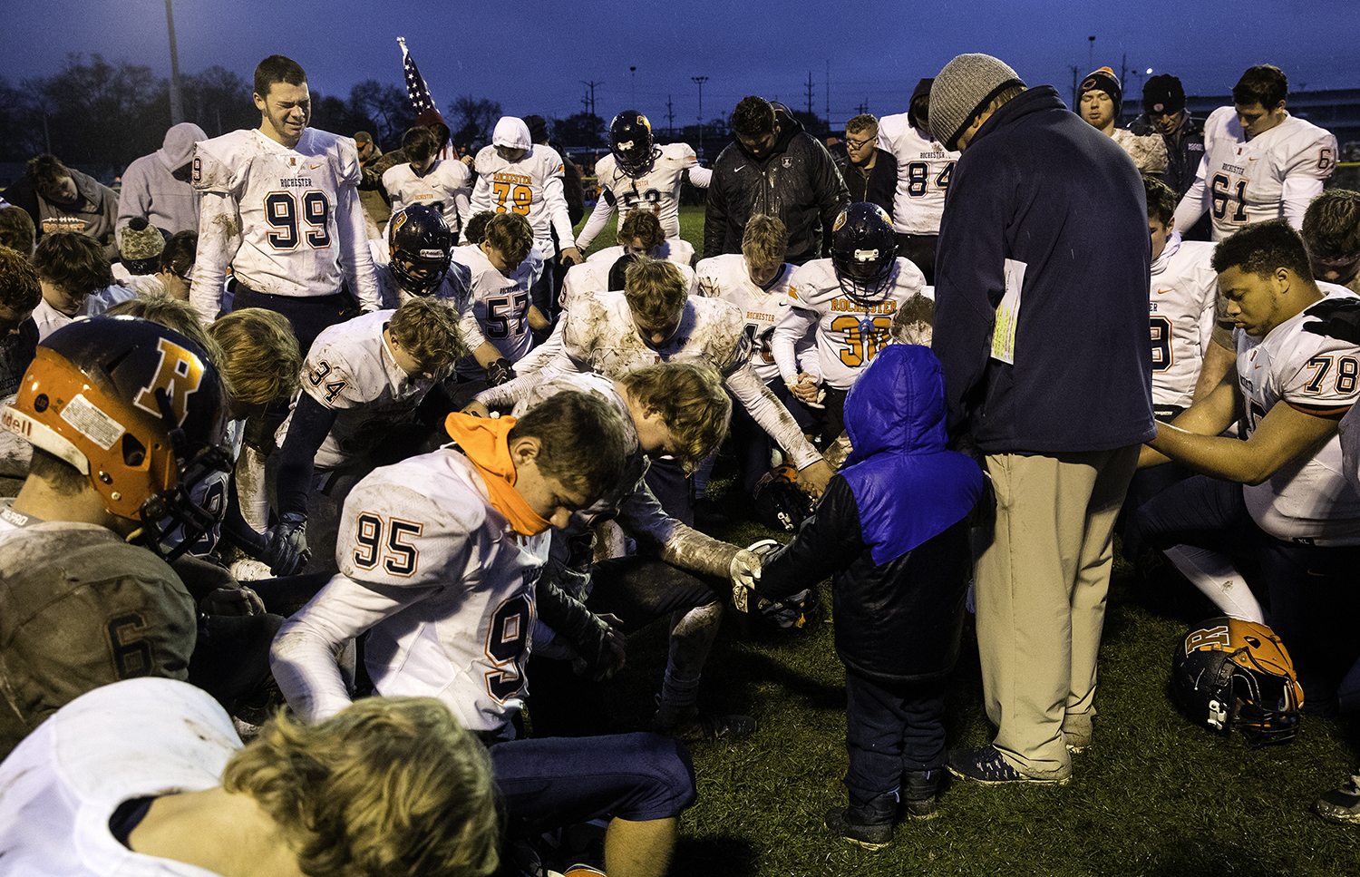 Rochester's Jonathon McKenzie says a prayer after the Rockets lost to Bishop McNamara during the Class 4A semifinal at Kankakee Bishop McNamara Saturday, Nov. 17, 2018. [Ted Schurter/The State Journal-Register]