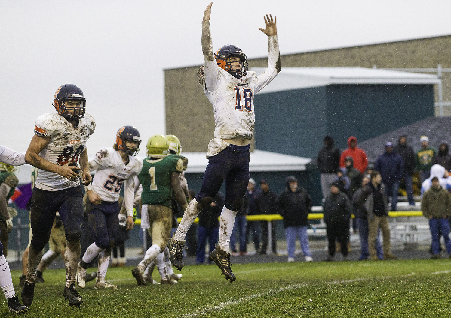 Rochester's Clay Bruno celebrates an extra point against Bishop McNamara during the Class 4A semifinal at Kankakee Bishop McNamara Saturday, Nov. 17, 2018. [Ted Schurter/The State Journal-Register]