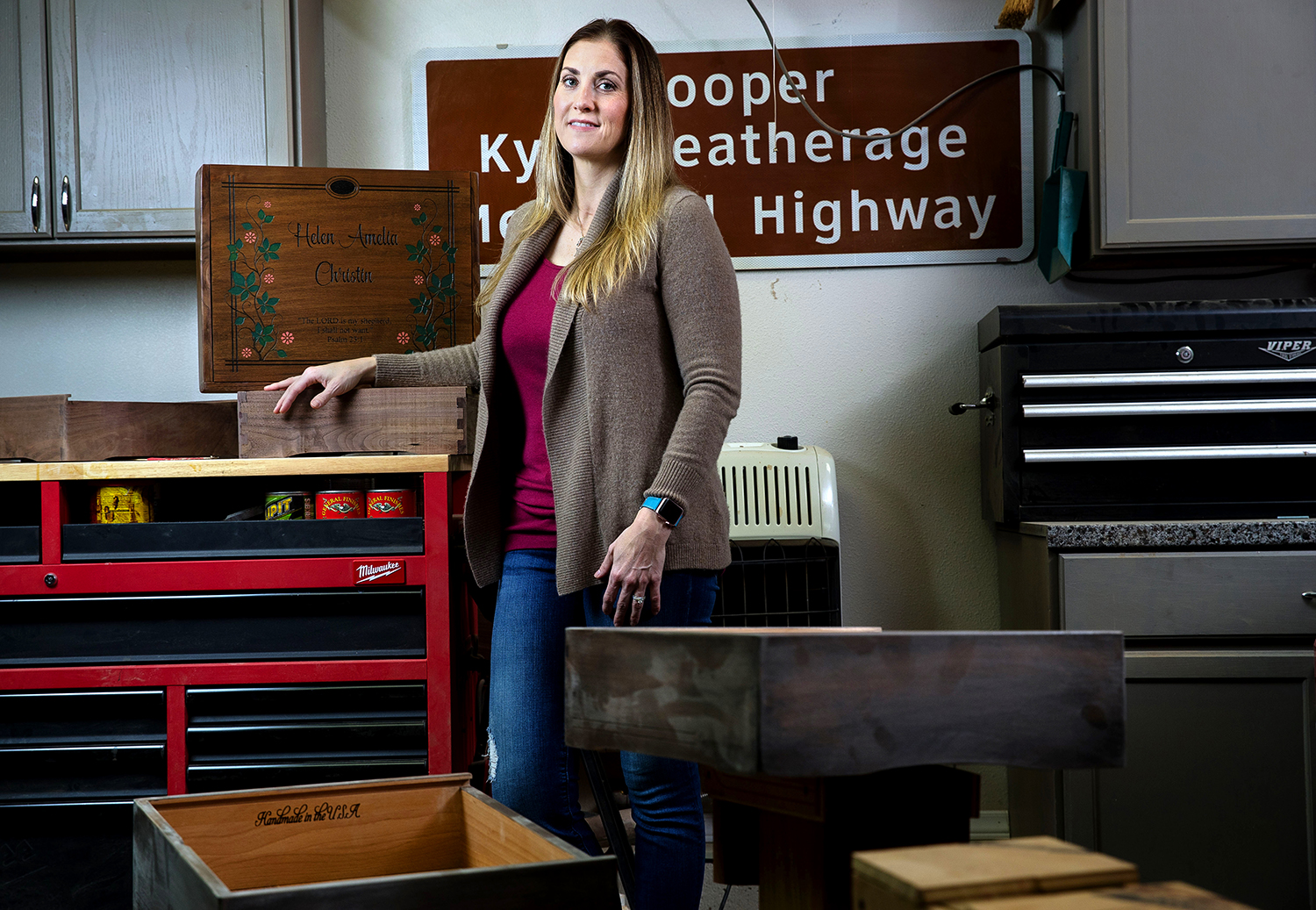 Sarah Deatherage-Steele founded Comforting Keepsakes as a way to help other people find healing and peace by storing the personal items of lost loved ones in a custom, hand-crafted box she creates. [Ted Schurter/The State Journal-Register]