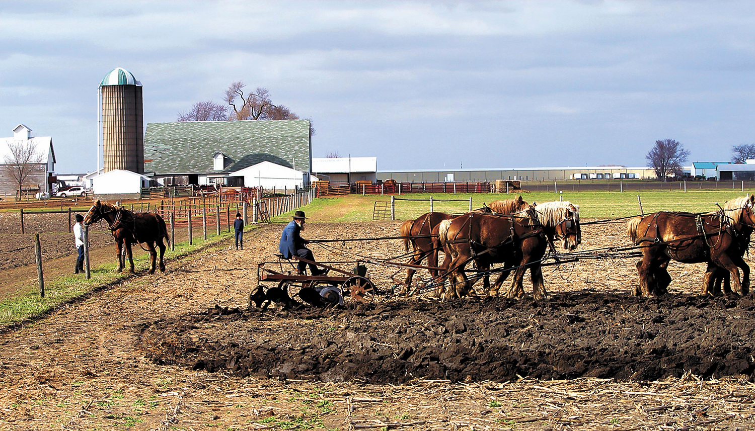 """Spring plowing with Belgian draft horses south of Arthur at an Amish farm, made their plain and simple life of peace, hard work and love of the soil a scene of tranquility."" [Bill Hagen/The State Journal-Register""]"
