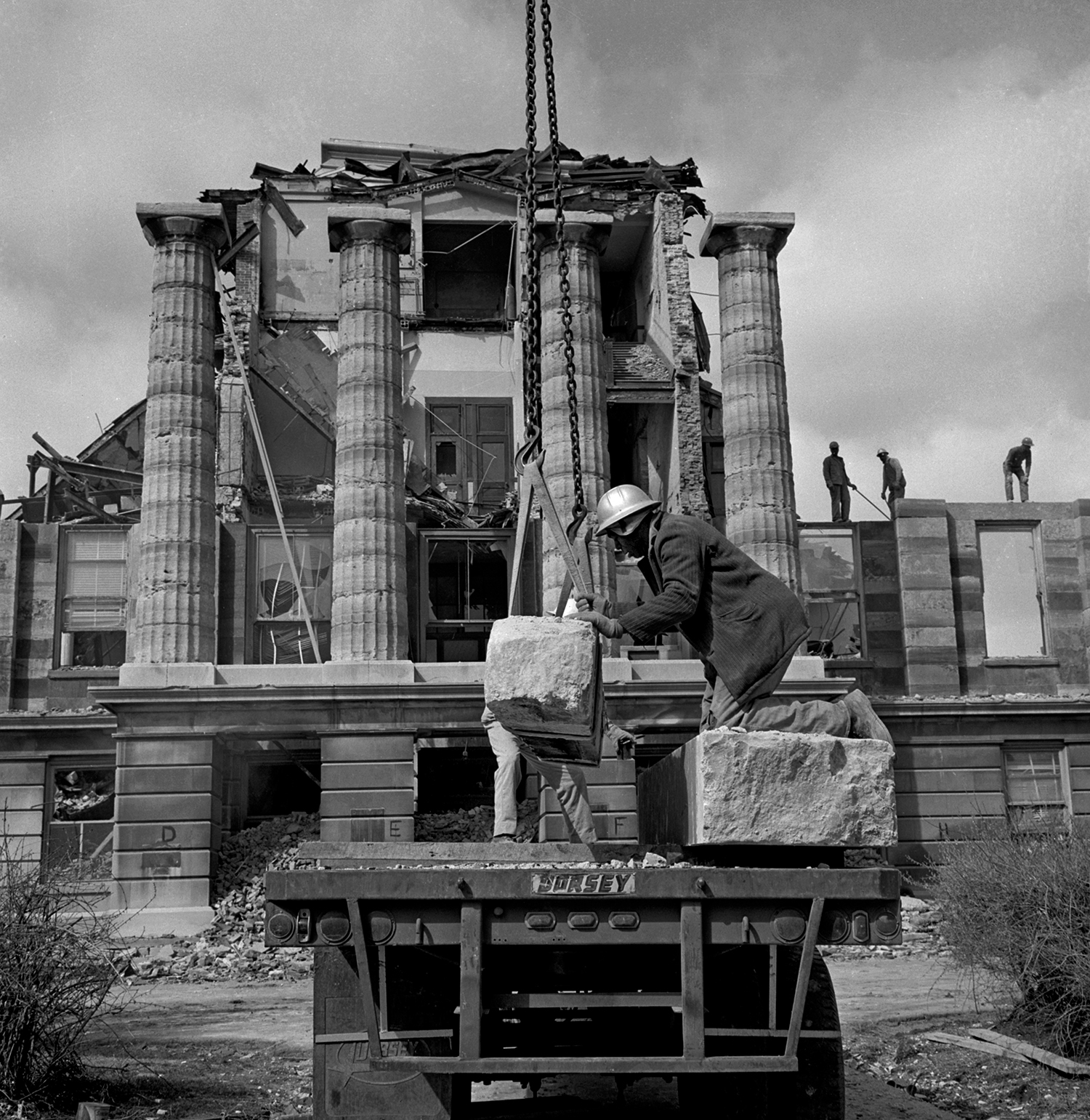 Exterior stone is removed from the Old State Capitol to make way for a complete interior restoration, March 1966. File/The State Journal-Register