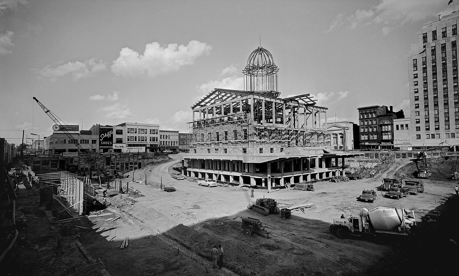As part of a landmark restoration of the Old State Capitol, the building's exterior stone was removed, cataloged and stored while the interior was demolished. Once the building was removed, a two-level parking garage and offices for the Illinois State Historical Library were built before the building was re-constructed above it. Stone masons replaced the original stonework on the exterior of the new structure. Photographed Aug. 31, 1967. Bill Hagen/The State Journal-Register