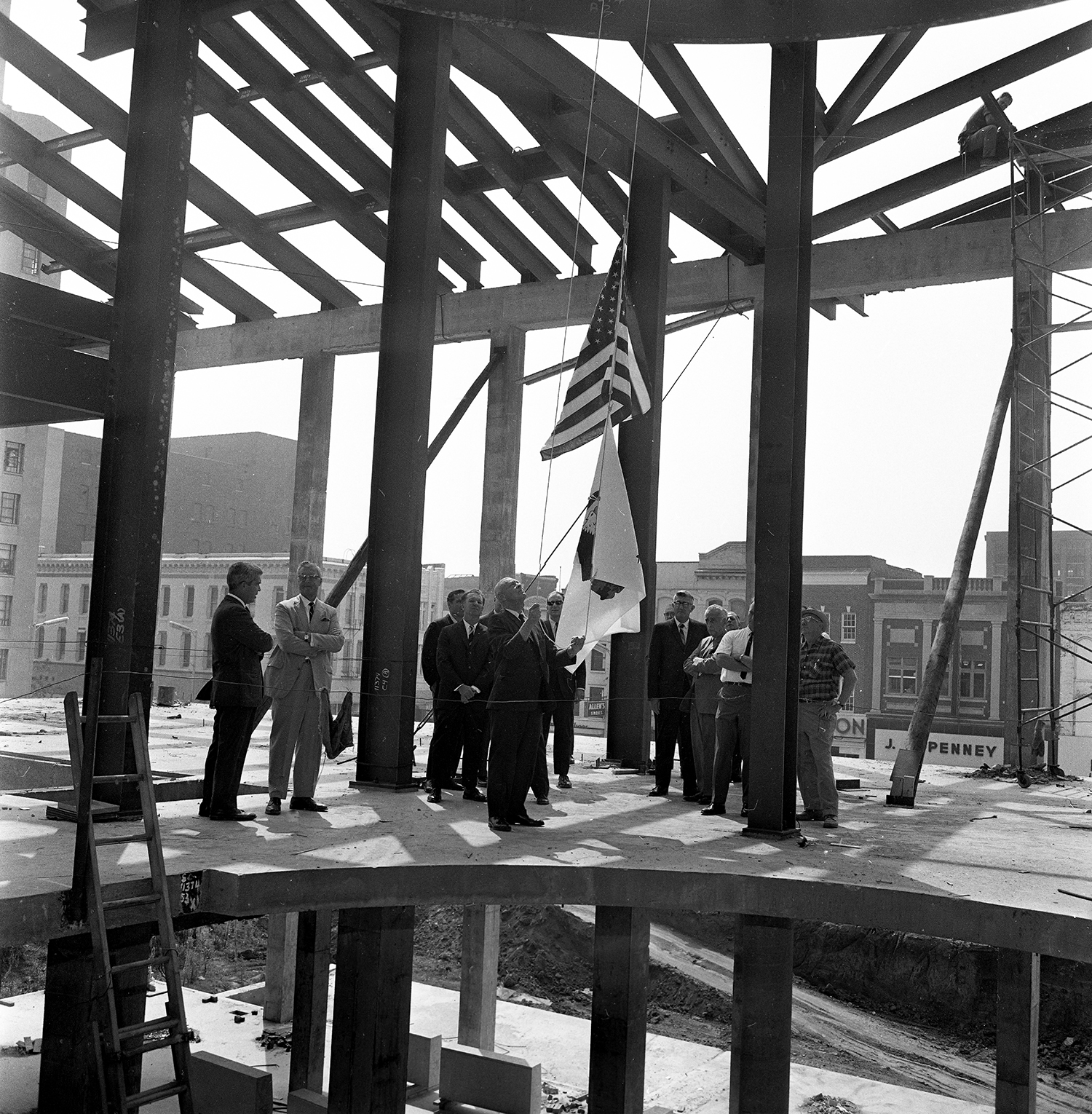 Flag raising at  Old State Capitol construction site, Aug. 31, 1967. Bill Hagen/The State Journal-Register