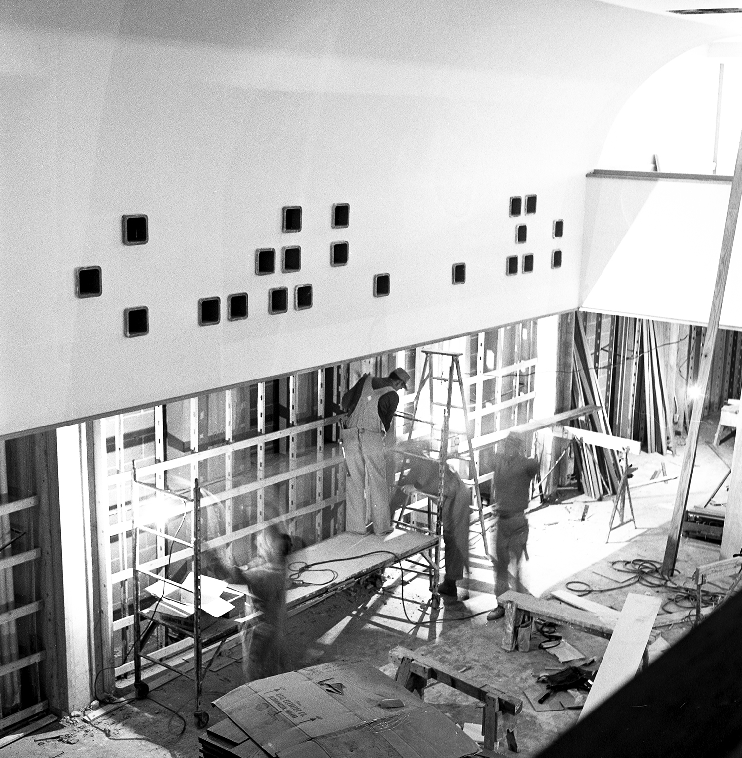 Old State Capitol State Historic Site, workers in the new home for the Illinois State Historical Library underneath the Old Capitol, preparations before official opening ceremony on Dec. 3, 1968. Photographed Dec. 2, 1968. File/The State Journal-Register