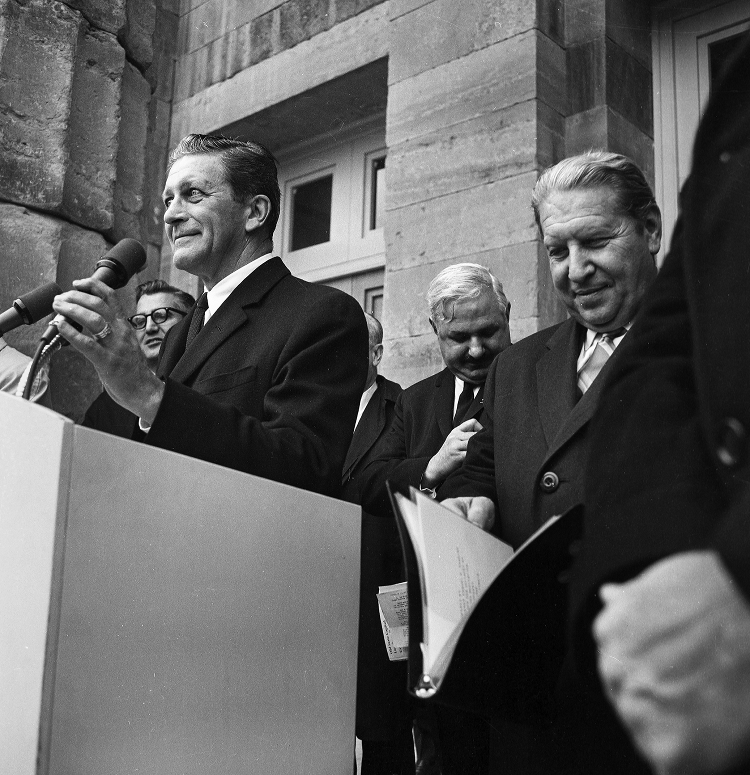 Former Gov. Otto Kerner, under whose administration plans for the renovation of the Old State Capitol began, and Gov. Sam Shapiro, right, during the dedication Dec. 3, 1968. File/The State Journal-Register