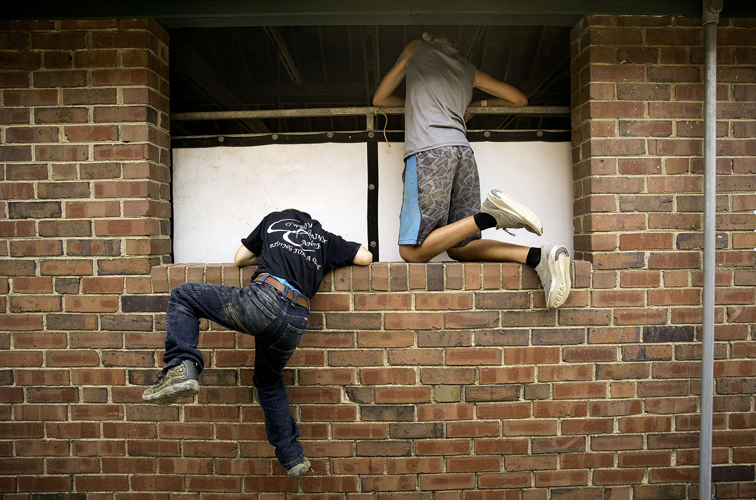 Levi Hanlin, left, tries to scrable up a wall to join his friend Jack Webb as they spy on their family that is visiting on the other side of the barn wall at the Illinois State Fair Monday, Aug. 13, 2018. [Ted Schurter/The State Journal-Register]