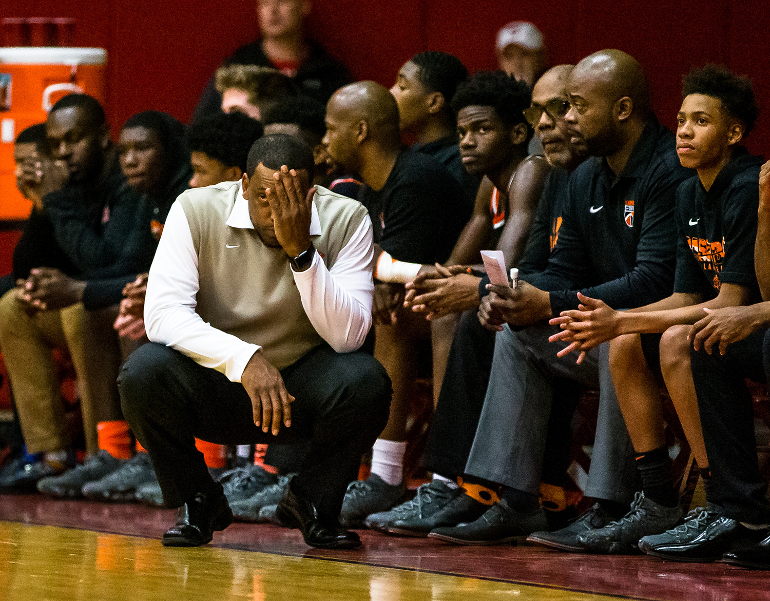 Lanphier boys basketball head coach Blake Turner reacts as the Lions take on Glenwood in the first half at Glenwood High School, Friday, Jan. 4, 2019, in Chatham, Ill. [Justin L. Fowler/The State Journal-Register]