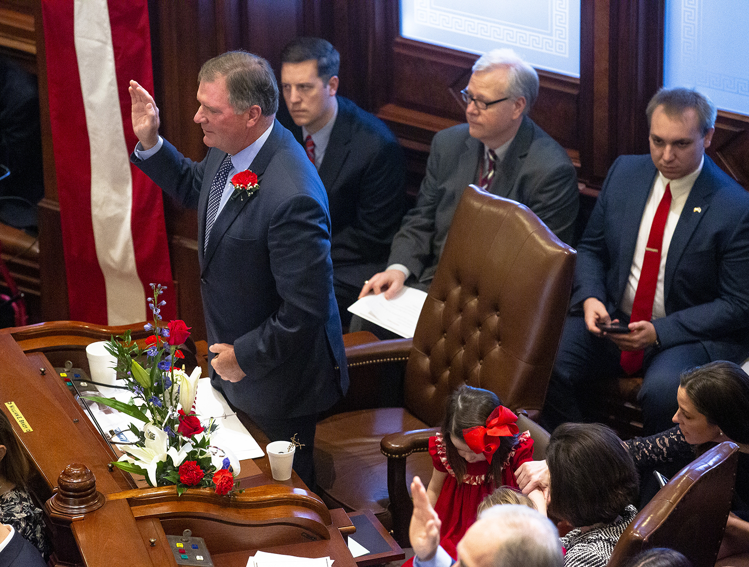 Sen. Bill Brady, R-Bloomington, is sworn in during the inauguration of the Illinois State Senate of the 101st General Assembly Wednesday, Jan. 9, 2019 at the Capitol in Springfield, Ill. [Rich Saal/The State Journal-Register]