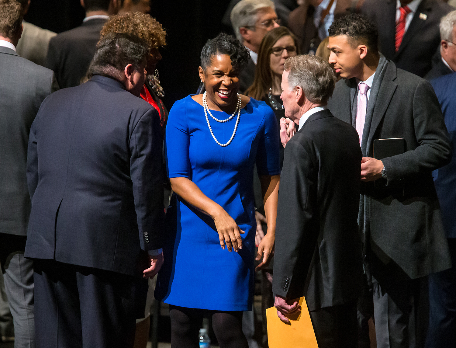 Illinois Lieutenant Governor-Elect Juliana Stratton, center, talks with Illinois Speaker of the House Michael Madigan, D-Chicago, prior to the inauguration ceremony for the Illinois House of Representatives for the 101st General Assembly at the University of Illinois Springfield's Sangamon Auditorium, Wednesday, Jan. 9, 2019, in Springfield, Ill. [Justin L. Fowler/The State Journal-Register]