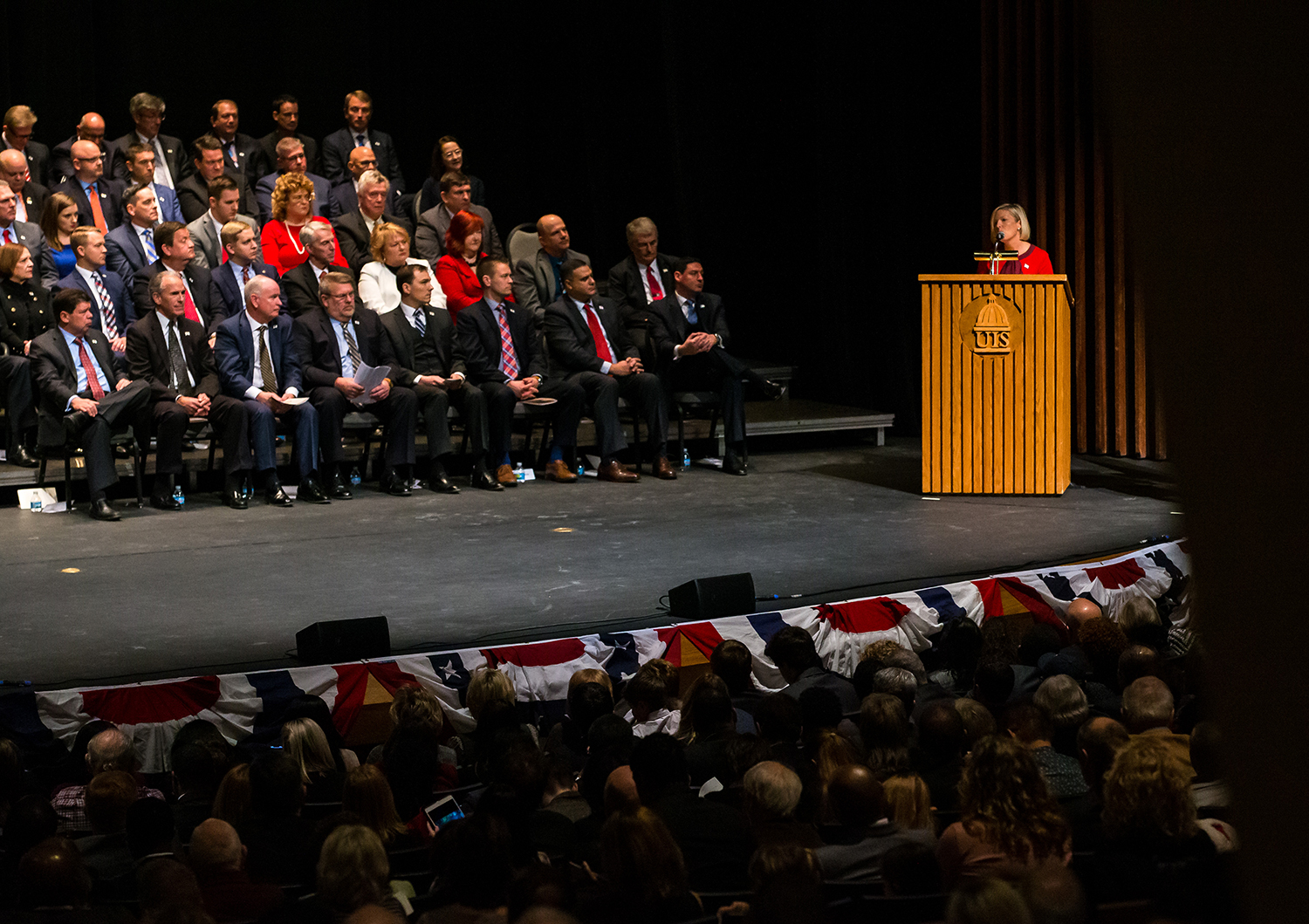 Illinois State Rep. Toni McCombie, R-Savanna, gives her nomination for Jim Durkin to be the Speaker of the Illinois House of Representatives during the inauguration ceremony for the Illinois House of Representatives for the 101st General Assembly at the University of Illinois Springfield's Sangamon Auditorium, Wednesday, Jan. 9, 2019, in Springfield, Ill. [Justin L. Fowler/The State Journal-Register]