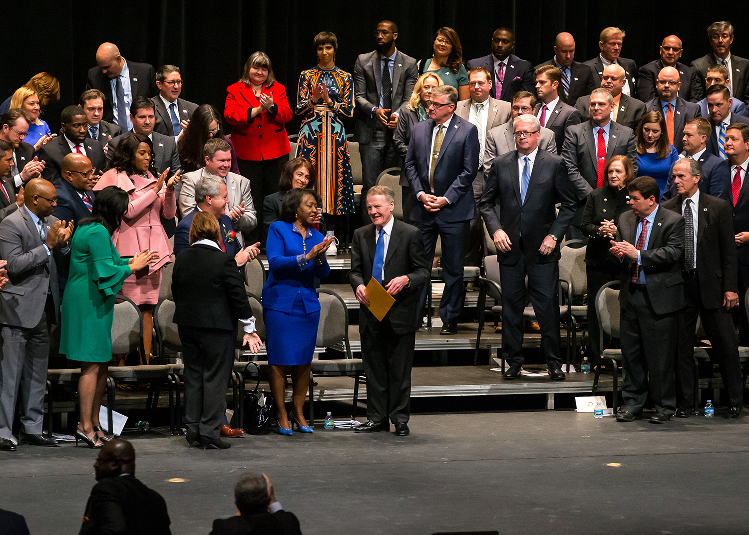 Illinois Speaker of the House Michael Madigan, D-Chicago, is applauded after being elected as the Illinois Speaker of the House for his 19th term during the inauguration ceremony for the Illinois House of Representatives for the 101st General Assembly at the University of Illinois Springfield's Sangamon Auditorium, Wednesday, Jan. 9, 2019, in Springfield, Ill. [Justin L. Fowler/The State Journal-Register]