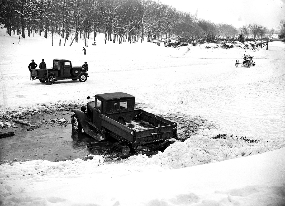 Snow plow stuck in ice at Washington Park lower lagoon after nine inch show, Jan. 7, 1940. File/The State Journal-Register