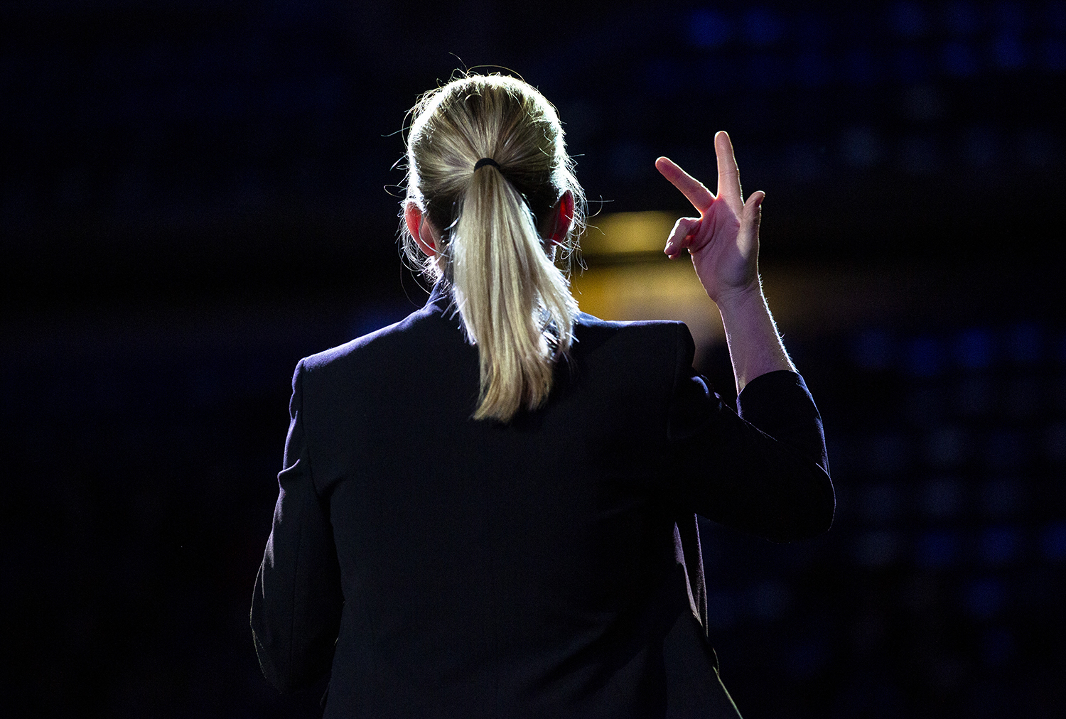 Missy Kinsel interprets in sign language for the Illinois Inaugural Ceremony Monday, Jan. 14, 2019 a the Bank of Springfield Center in Springfield, Ill. [Rich Saal/The State Journal-Register]