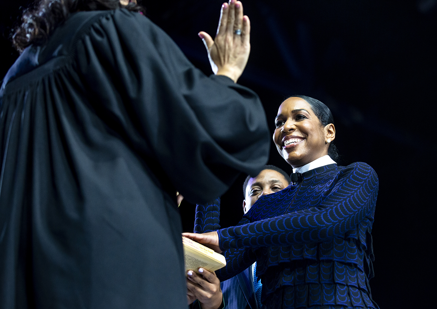 Juliana Stratton is administered the oath of office as lieutenant governor during the Illinois Inaugural Ceremony Monday, Jan. 14, 2019 a the Bank of Springfield Center in Springfield, Ill. [Rich Saal/The State Journal-Register]