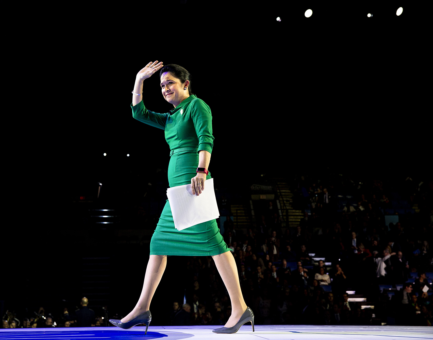 Comptroller Susana Mendoza leaves the stage after being sworn in during the Illinois Inaugural Ceremony Monday, Jan. 14, 2019 a the Bank of Springfield Center in Springfield, Ill. [Rich Saal/The State Journal-Register]
