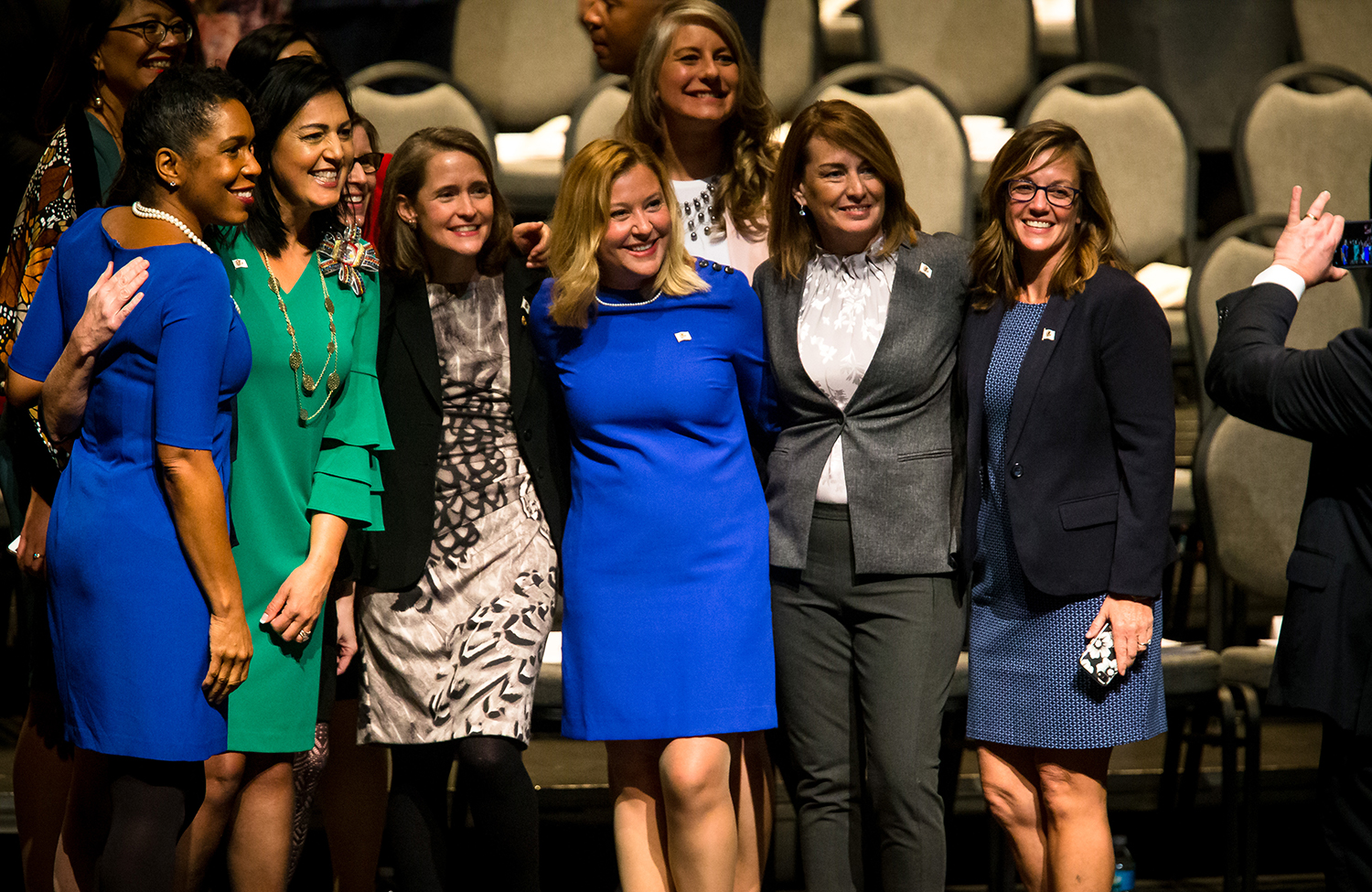 Lt. Gov.-elect Juliana Stratton, left, Illinois State Rep. Linda Chapa LaVia, D-Aurora, Michelle Mussman, D-Schaumburg, Rep. Michelle Mussman, D-Schaumburg, Rep. Anna Moeller. D-Elgin, Rep. Stephanie Kifowit, D-Oswego, Rep. Deborah Conroy, D-Villa Park, and Rep. Katie Stuart, D-Edwardsville, pose for a photograph on stage prior to the inauguration ceremony for the Illinois House of Representatives for the 101st General Assembly at the University of Illinois Springfield's Sangamon Auditorium, Wednesday, Jan. 9, 2019, in Springfield, Ill. The State Reps are part of a record setting number of women in 101st General Assembly with 66 women in the legislature. [Justin L. Fowler/The State Journal-Register]