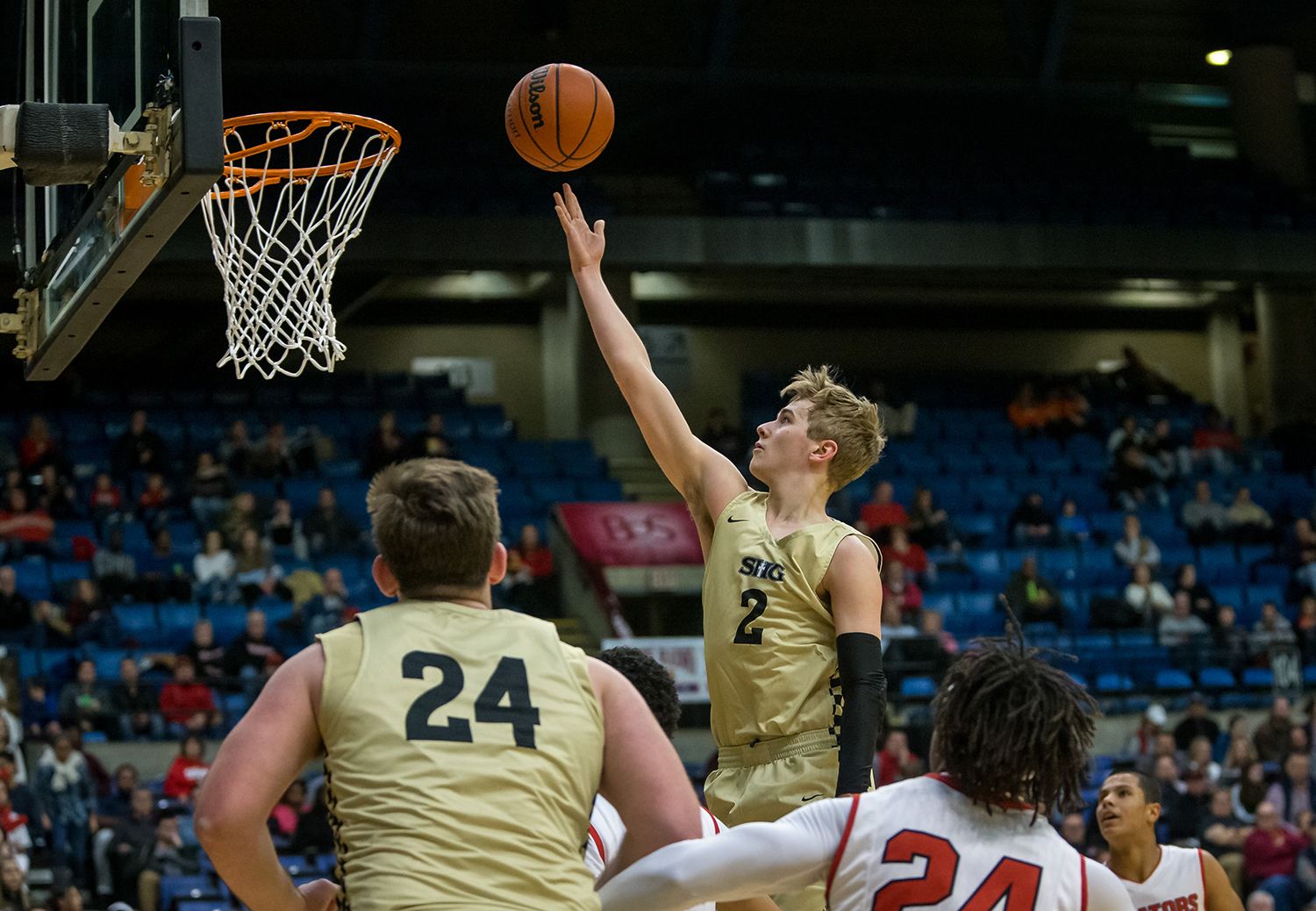 Sacred Heart-Griffin's Joe Gustafson (2) lays it in against Springfield in the second quarter on opening night of the Boys City Tournament at the Bank of Springfield Center, Wednesday, Jan. 16, 2019, in Springfield, Ill. [Justin L. Fowler/The State Journal-Register]
