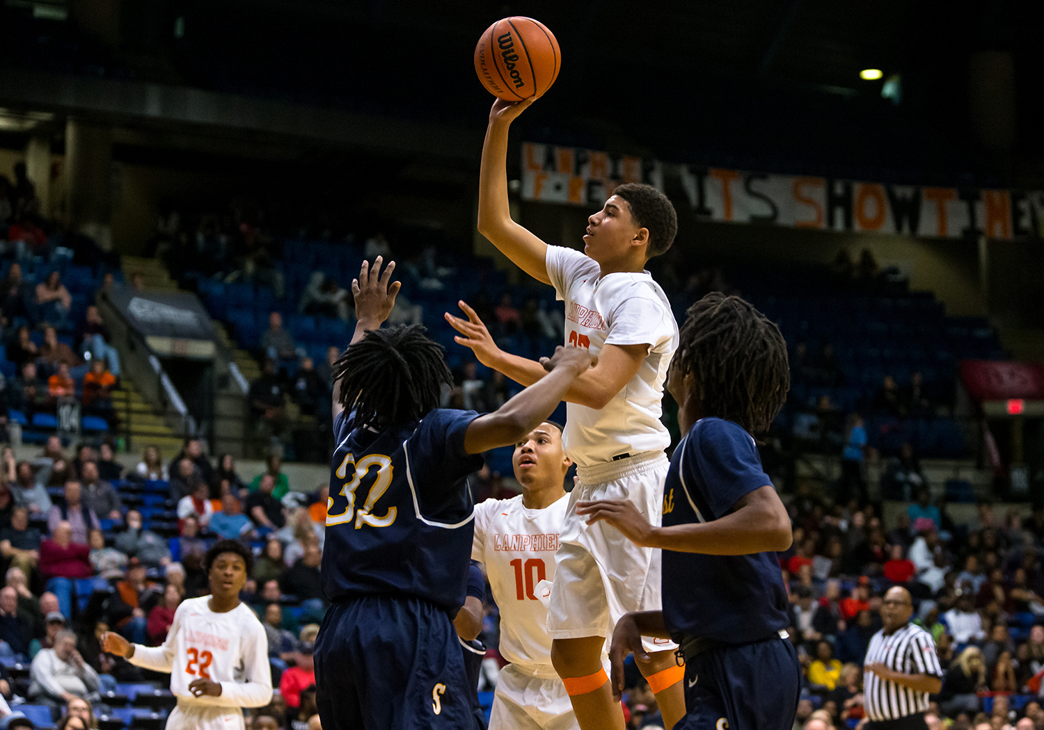 Lanphier's Tye Banks (23) puts up a shot against Southeast's Stepheon Sims (32) in the second quarter on opening night of the Boys City Tournament at the Bank of Springfield Center, Wednesday, Jan. 16, 2019, in Springfield, Ill. [Justin L. Fowler/The State Journal-Register]