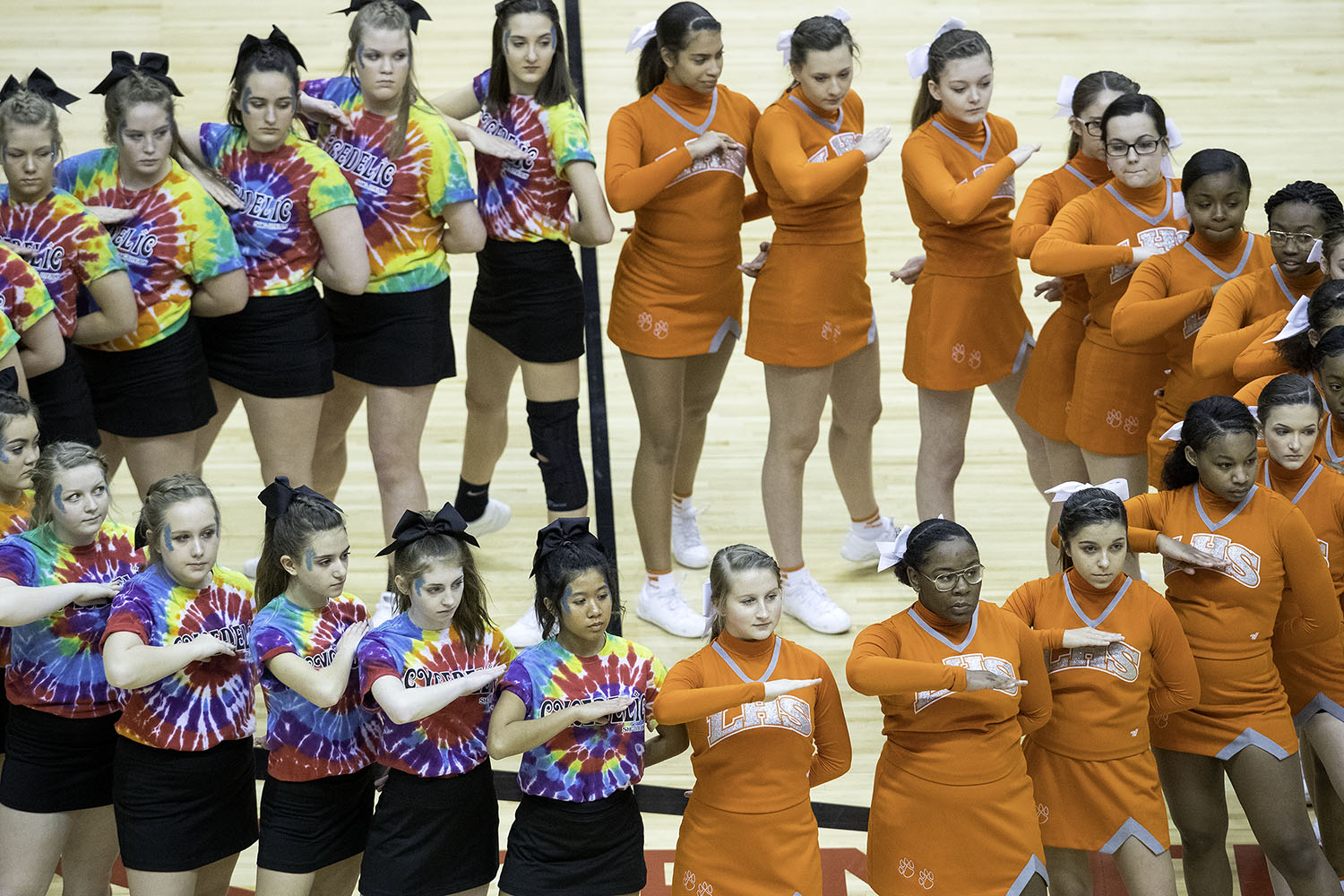 The spirit squads from Sacred Heart-Griffin and Lanphier wait for the posting of the colors before tip off during the Boys City Tournament at the Bank of Springfield Center Thursday, Jan. 17, 2019.  [Ted Schurter/The State Journal-Register]
