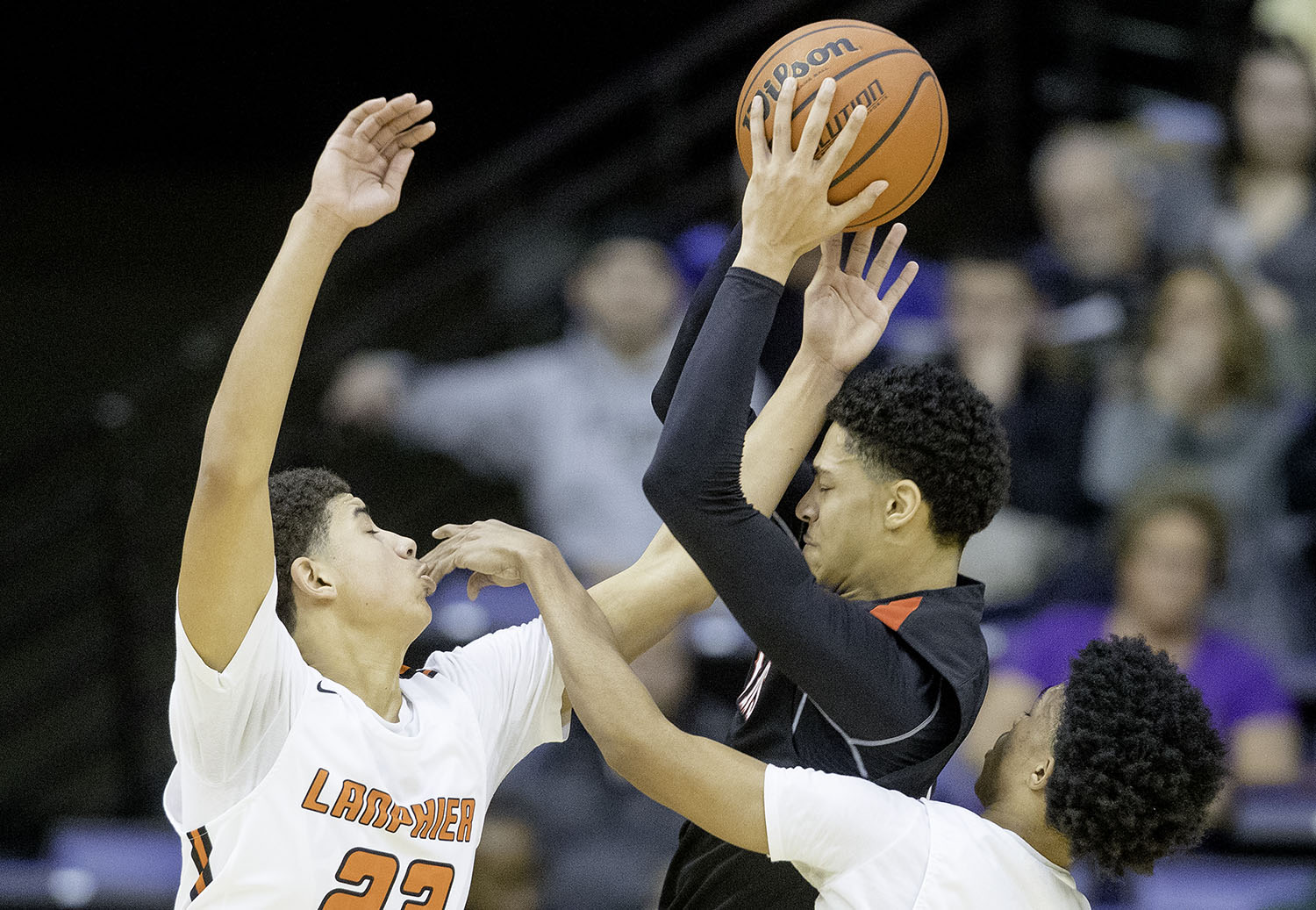 Lanphier's Tye Banks and Makai Phillips pressure Springfield's Bennie Slater during the Boys City Tournament at the Bank of Springfield Center Friday, Jan. 18, 2019.  [Ted Schurter/The State Journal-Register]
