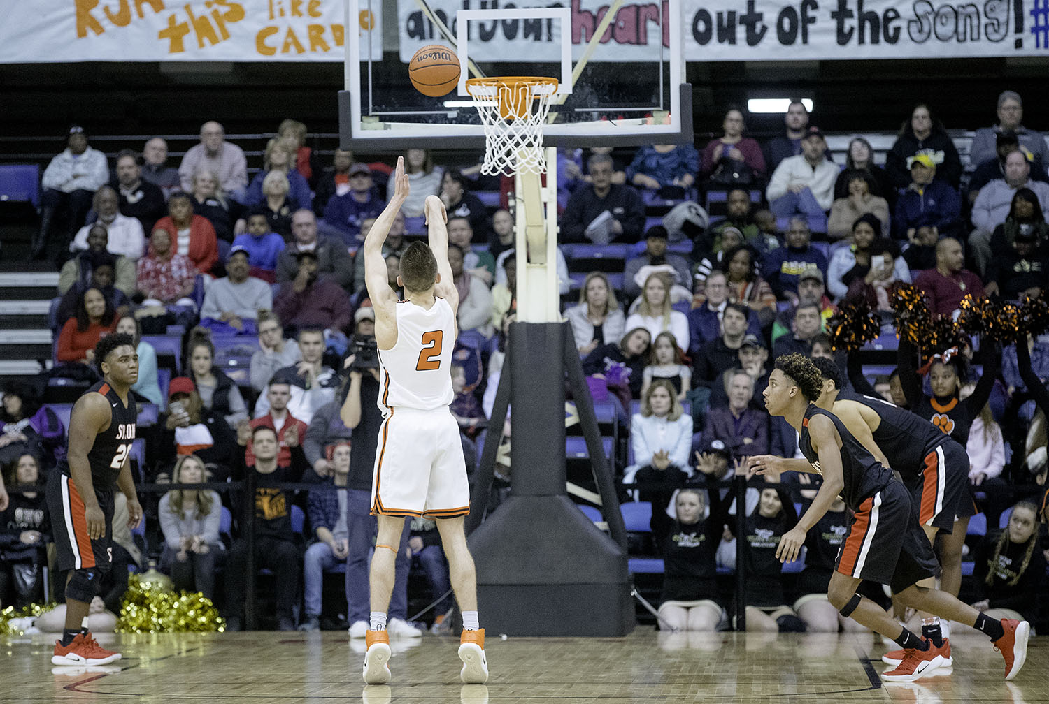 Lanphier's Jaden Snodgrass sinks a foul shot to extend the Lions lead to two against Springfield in the final seconds of the Boys City Tournament at the Bank of Springfield Center Friday, Jan. 18, 2019.  [Ted Schurter/The State Journal-Register]