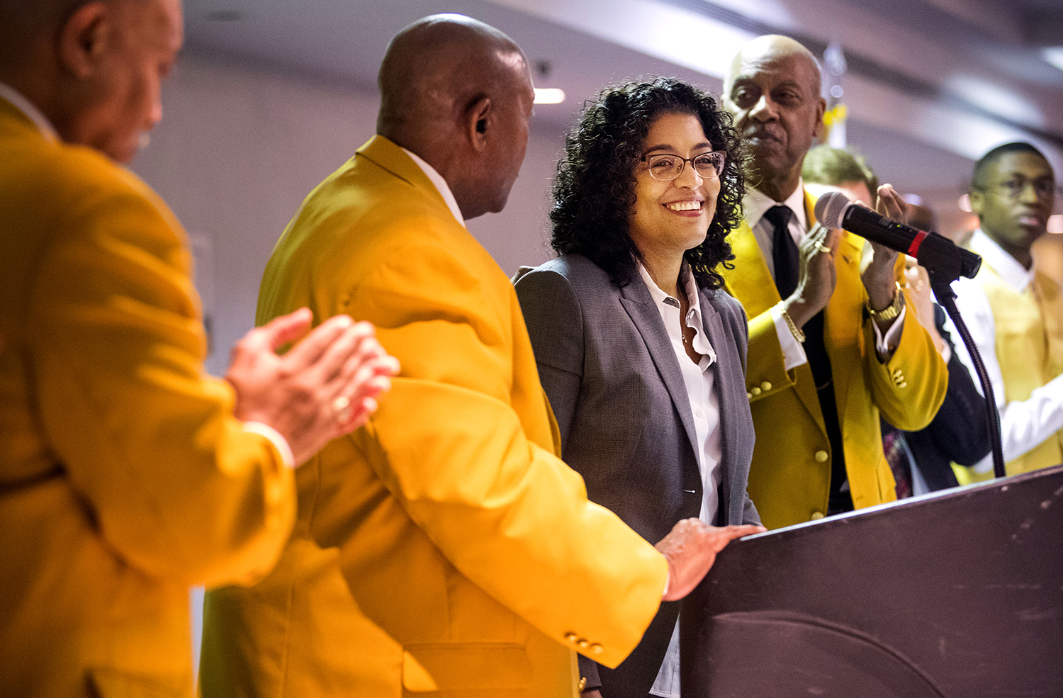 Professor Tracey L. Meares, Walton Hale Hamilton Professor of Law and a founding director of the Justice Collaboratory at Yale Law School and a Springfield native, acknowledges the standing ovation at the conclusion of her speech at the 44th annual Dr. Martin Luther King Jr. Memorial Breakfast in Springfield Monday, Jan. 21, 2019. [Ted Schurter/The State Journal-Register]