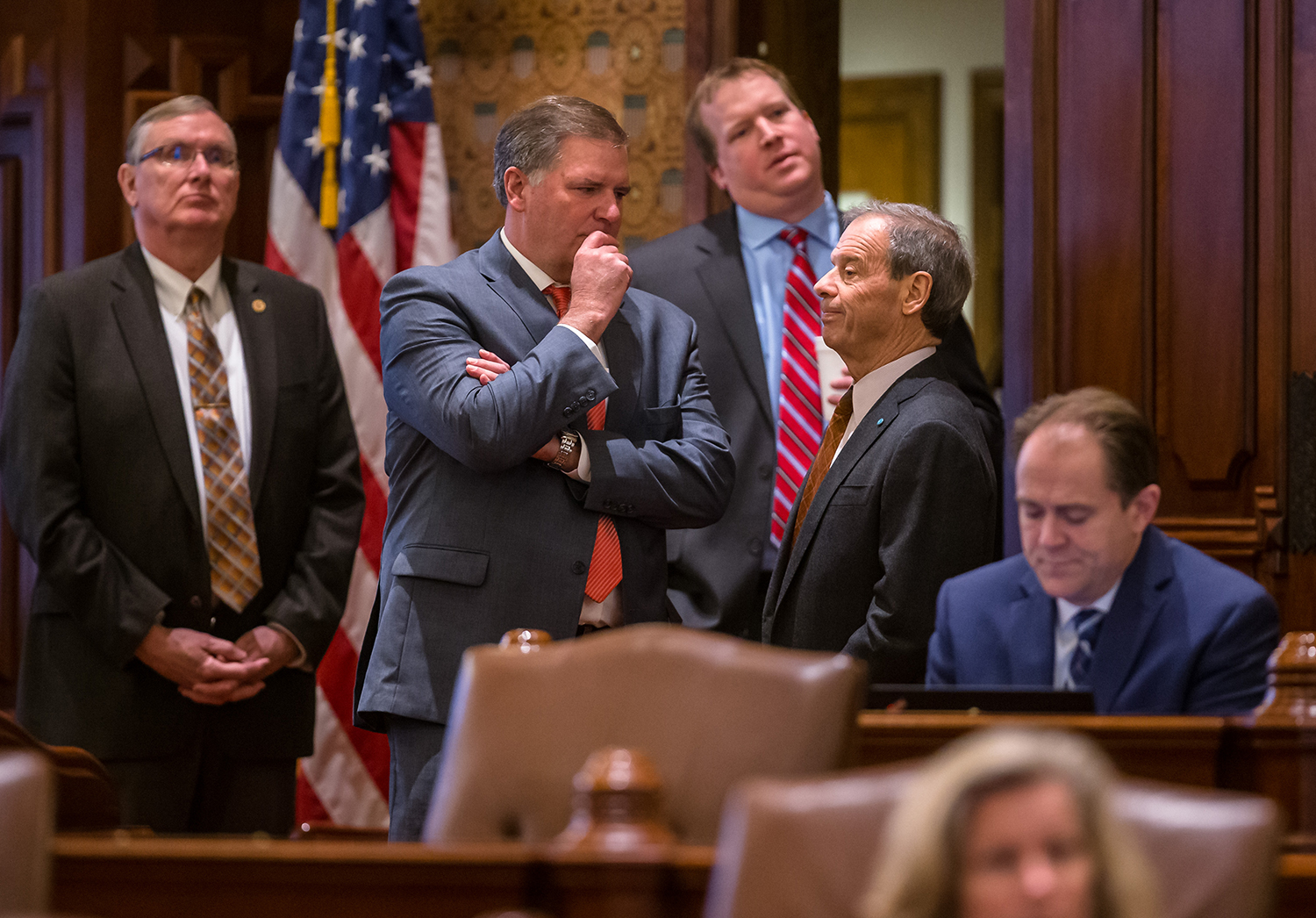 Illinois Senate Republican Leader Bill Brady, R-Bloomington, talks with Illinois Senate President John Cullerton, D-Chicago, right, during debate on on Senate Bill 1, a bill to raise the state's minimum wage to $15 an hour by 2025, on the Senate floor at the Illinois State Capitol, Thursday, Feb. 7, 2019, in Springfield, Ill. [Justin L. Fowler/The State Journal-Register]