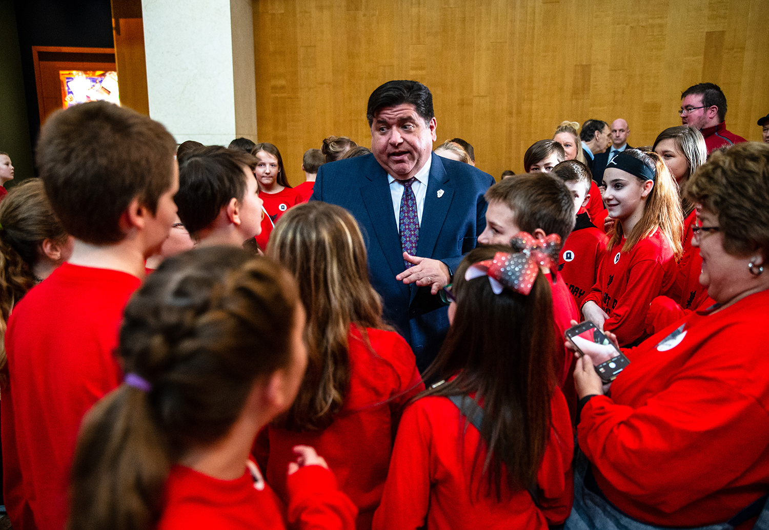 Illinois Governor J.B. Pritzker visits with a school from Sandoval Grade School during a celebration of Abraham Lincoln's 210th birthday at the Abraham Lincoln Presidential Museum, Tuesday, Feb. 12, 2019, in Springfield, Ill. [Justin L. Fowler/The State Journal-Register]