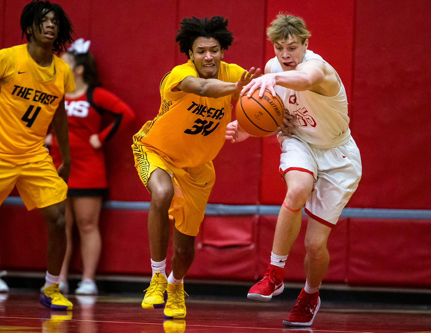 Southeast's Michael Tyler (34) forces a turnover from Glenwood's Eli Vogler (15) in the second half at Glenwood High School, Tuesday, Feb. 12, 2019, in Chatham, Ill. [Justin L. Fowler/The State Journal-Register]
