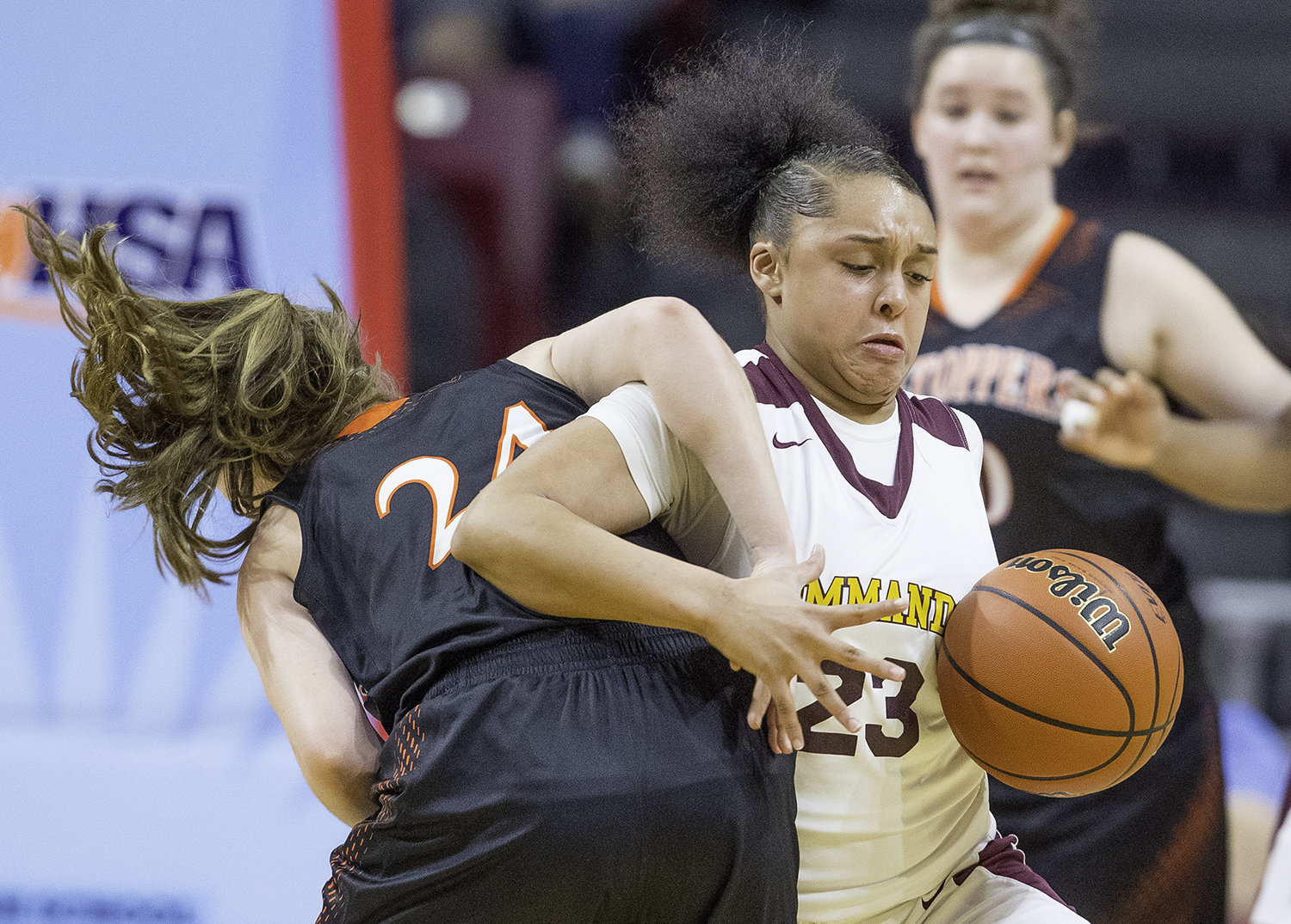 Marshall's Niyah Zamudio  steals the ball from Hillsboro's Sammi Matoush during the Class 2A Girls Basketball State Semifinals at Redbird Arena in Normal Friday, Feb. 22, 2019. [Ted Schurter/The State Journal-Register]