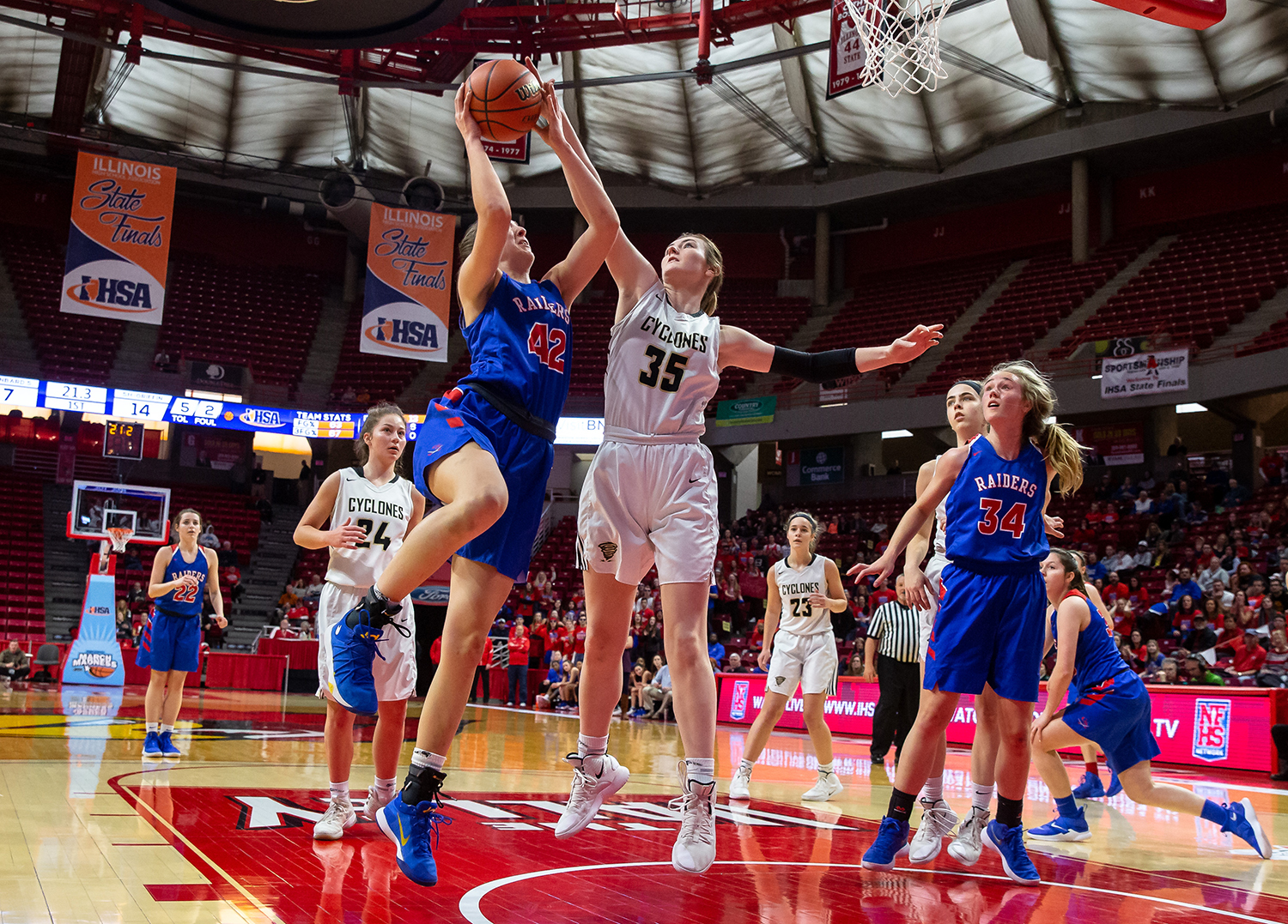 Sacred Heart-Griffin's Victoria Zeigler (35) blocks a shot from Glen Ellyn Glenbard South's Maggie Bair (42) in the first quarter during the IHSA Class 3A State Tournament semifinals at Redbird Arena, Friday, March 1, 2019, in Normal, Ill. [Justin L. Fowler/The State Journal-Register]