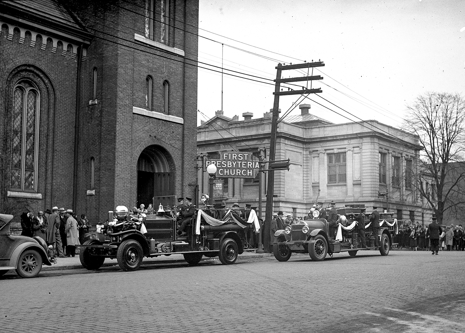 Funeral services for Springfield Fire Department Asst. Fire Chief Harry Durham were held March 24, 1932 at First Presbyterian Church in Springfield, four days after he was killed by an explosion and fire at Springfield High School. File/The State Journal-Register