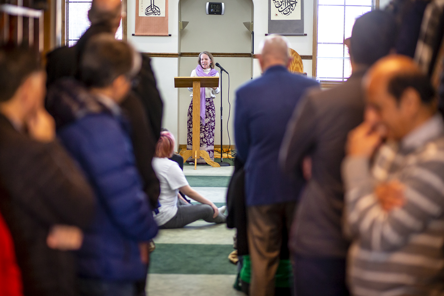 Rev. Susan Phillips, of First Presbyterian Church, delivers her remarks during a vigil of solidarity & support for the Islamic community and the New Zealand shooting victims hosted by the Greater Springfield Interfaith Association and the Islamic Society Of Greater Springfield at the Islamic Society of Greater Springfield mosque, Sunday, March 17, 2019, in Springfield, Ill. [Justin L. Fowler/The State Journal-Register]