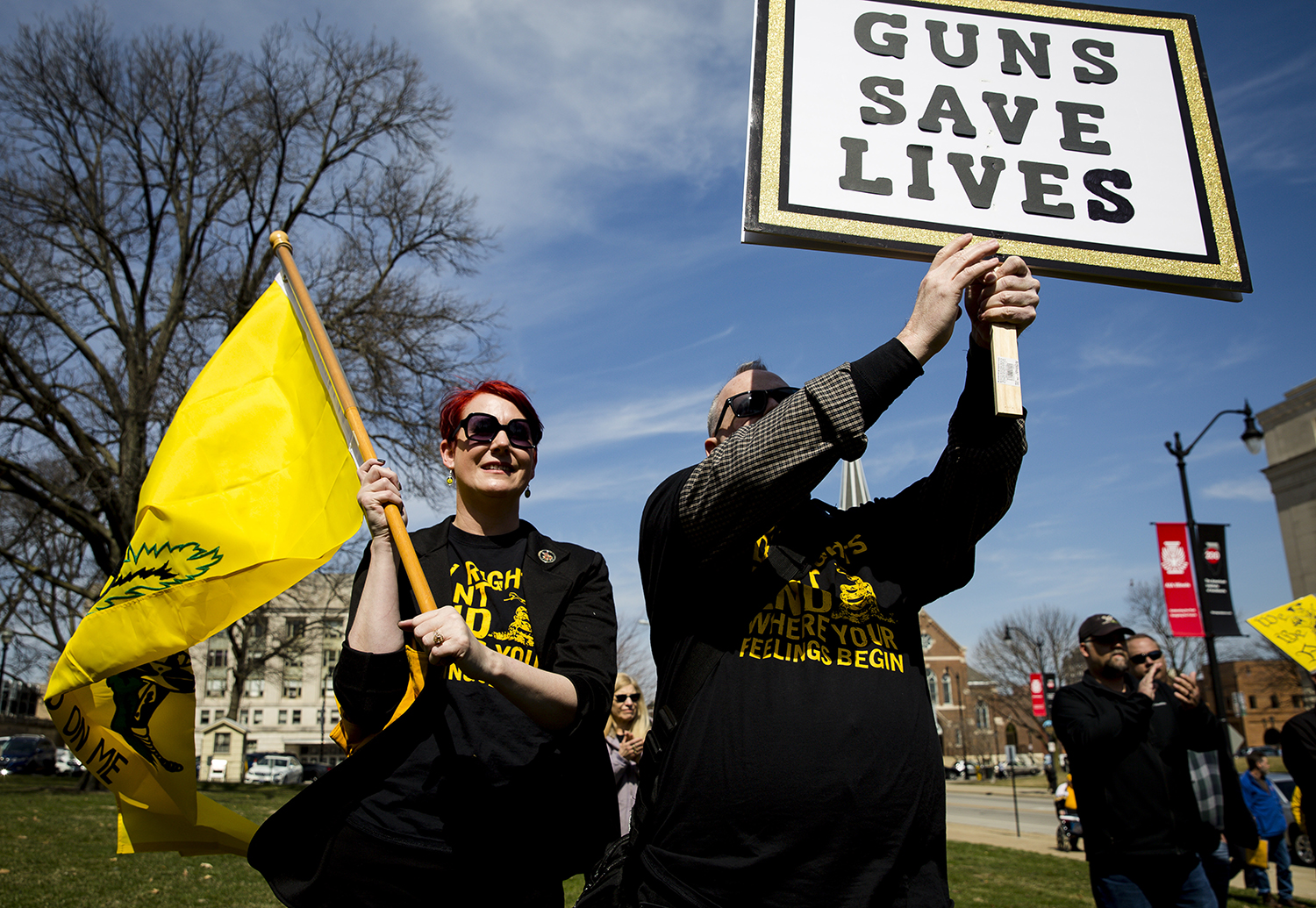 Cherie Faulkner and Karl Dettmer from Naperville, listen to speakers on the steps of the Capitol during the Illinois State Rifle Association's annual gun owner's lobby day (IGOLD)  Wednesday, March 27, 2019 in Springfield, Ill. [Rich Saal/The State Journal-Register]