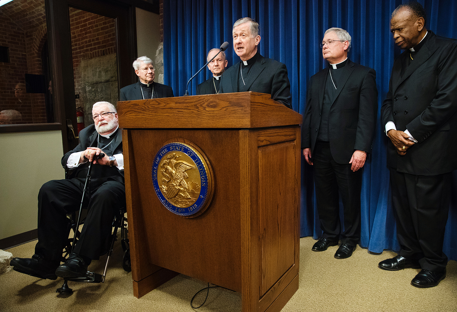 Cardinal Blase Cupich, center, Archbishop of Chicago, is joined by the bishops from Illinois' five Catholic dioceses to address legislation that would dramatically alter abortion law and repeal the state's Parental Notice of Abortion Act during a press conference at the Capitol Thursday, March 28, 2019 in Springfield, Ill. From left are Bishop Daniel Jenky of Peoria; Bishop Daniel Conlon of Joliet, Bishop Thomas John Paprocki of Springfield, Bishop David Malloy of Rockford and Bishop Edward Braxton of Belleville. [Ted Schurter/The State Journal-Register]