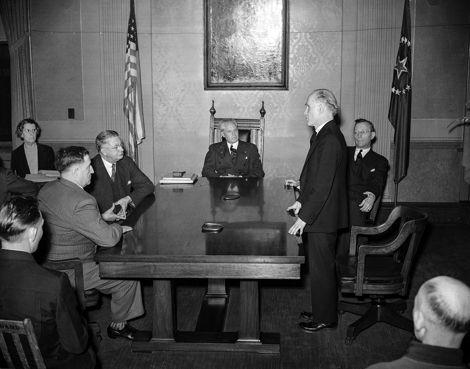 Springfield city council first meeting after election, April 10, 1939 at Springfield City Hall. From left, Percy Darling, commissioner of streets and public improvements; J.A. Van Nattan, commissioner of public health and safety; Mayor John Kapp, Harry Leuers, commissioner of accounts and finances; and Willis Spaulding, commissioner of public property. File/The State Journal-Register