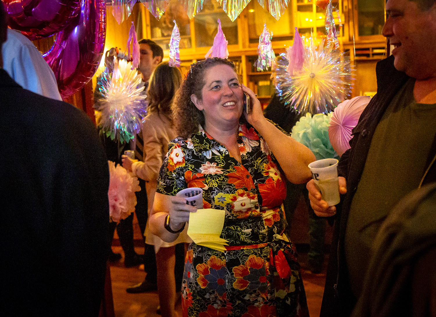 Erin Conley, candidate for Ward 8, center, takes phone calls after winning her race during an election night party hosted by the Sangamon County Democratic Party at D H Brown's, Tuesday, April 2, 2019, in Springfield, Ill. [Justin L. Fowler/The State Journal-Register]