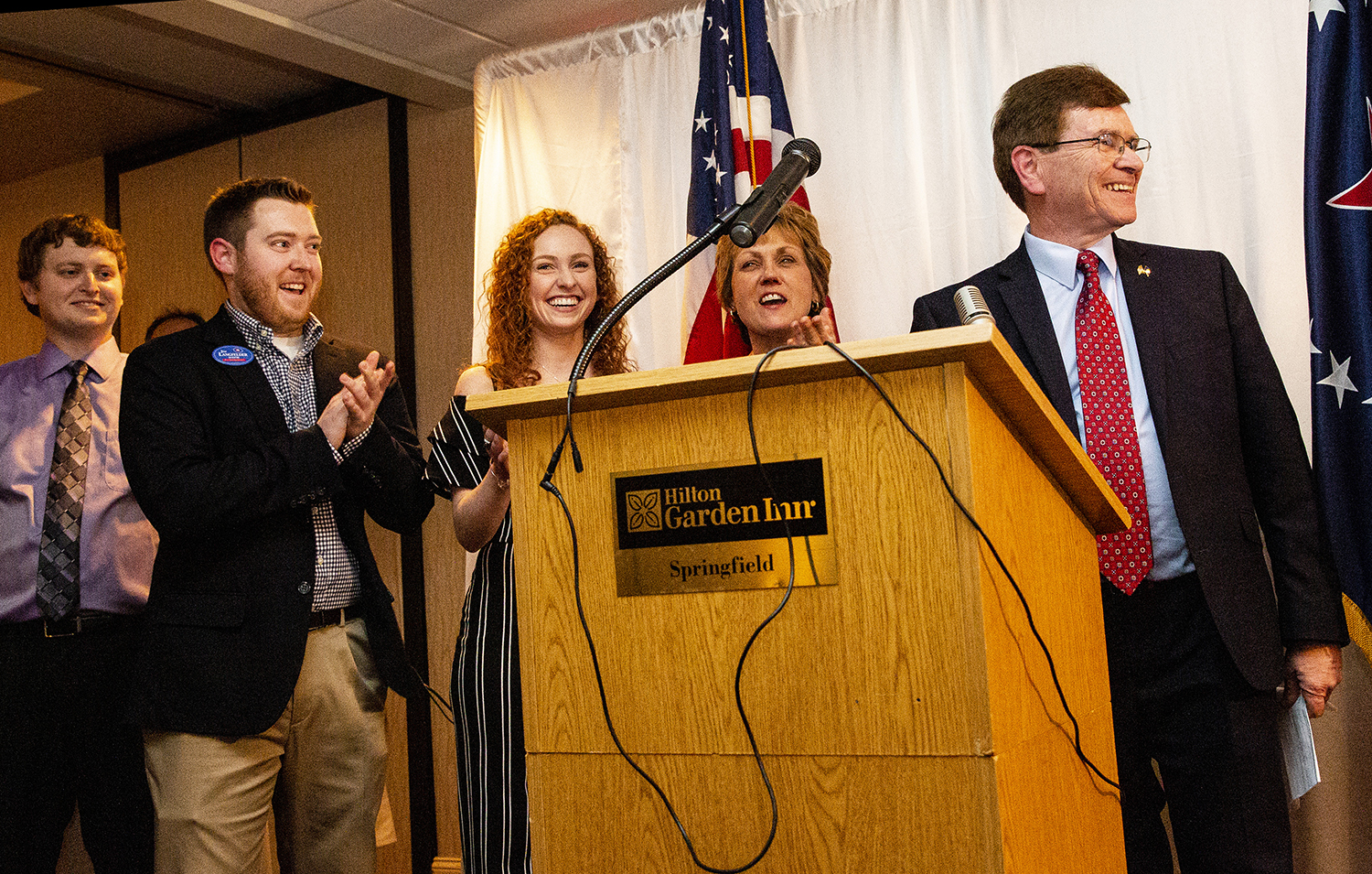 Jim Langfelder thanks those who helped him win reelection to a second term as mayor Tuesday, April 2, 2019 at the Hilton Garden Inn in Springfield, Ill. His family, Ryan, left, Justin, Lauren and his wife Billie, celebrated with him. [Rich Saal/The State Journal-Register]