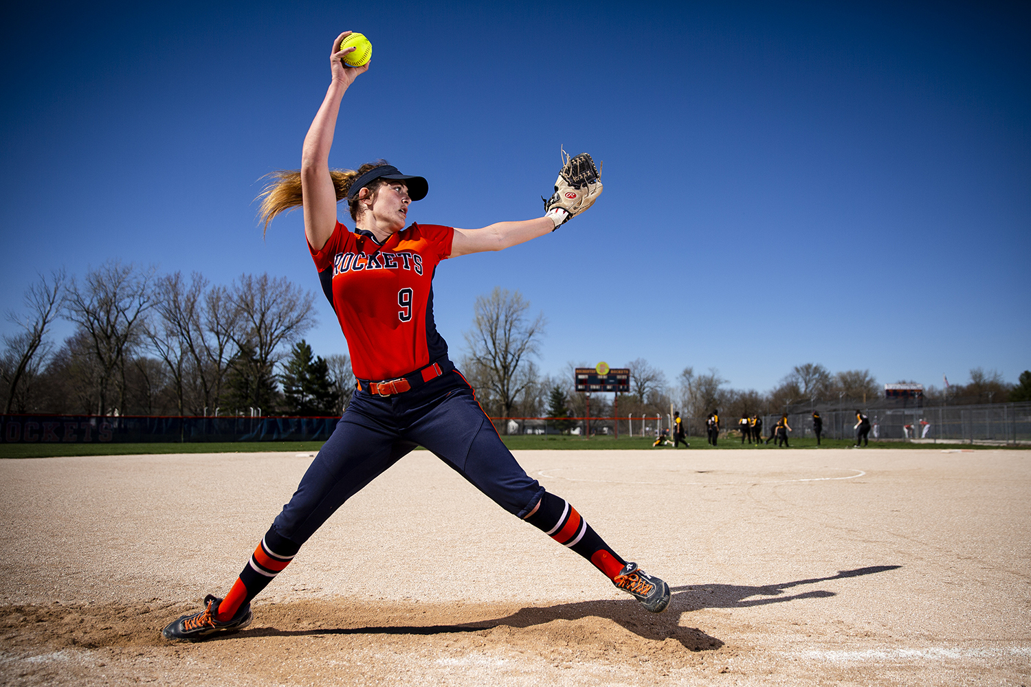 Rochester High School's Reagan Miles, who has committed to the University of Illinois Springfield, recently passed more than 500 career strikeouts. Miles was photographed Tuesday, April 9, 2019 at Rochester HIgh School in Rochester, Ill. [Rich Saal/The State Journal-Register]