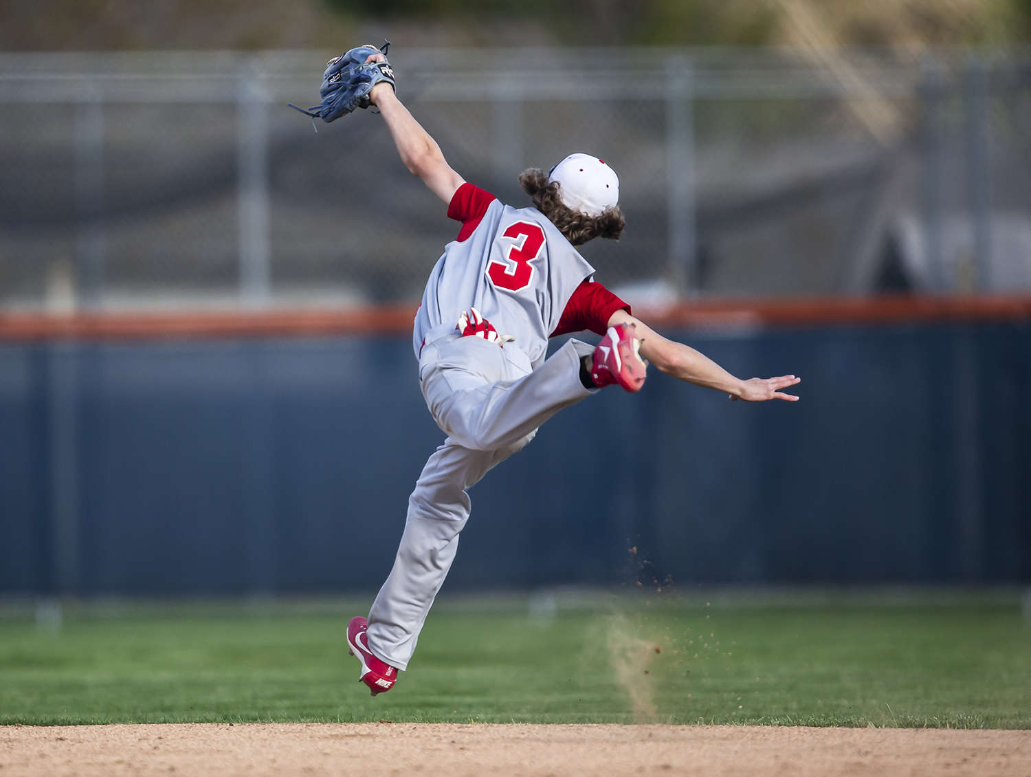 Pleasant Plains Reese Snell (3) makes a leaping catch on the a line drive for an out against New Berlin in the 3rd inning at New Berlin High School, Wednesday, April 17, 2019, in New Berlin, Ill. [Justin L. Fowler/The State Journal-Register]