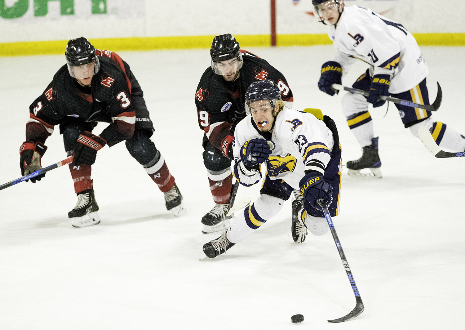 Springfield's Nick Techel lunges for the puck against Minnesota during the North American Hockey League playoff game at the Nelson Center Friday, April 19, 2019. [Ted Schurter/The State Journal-Register]