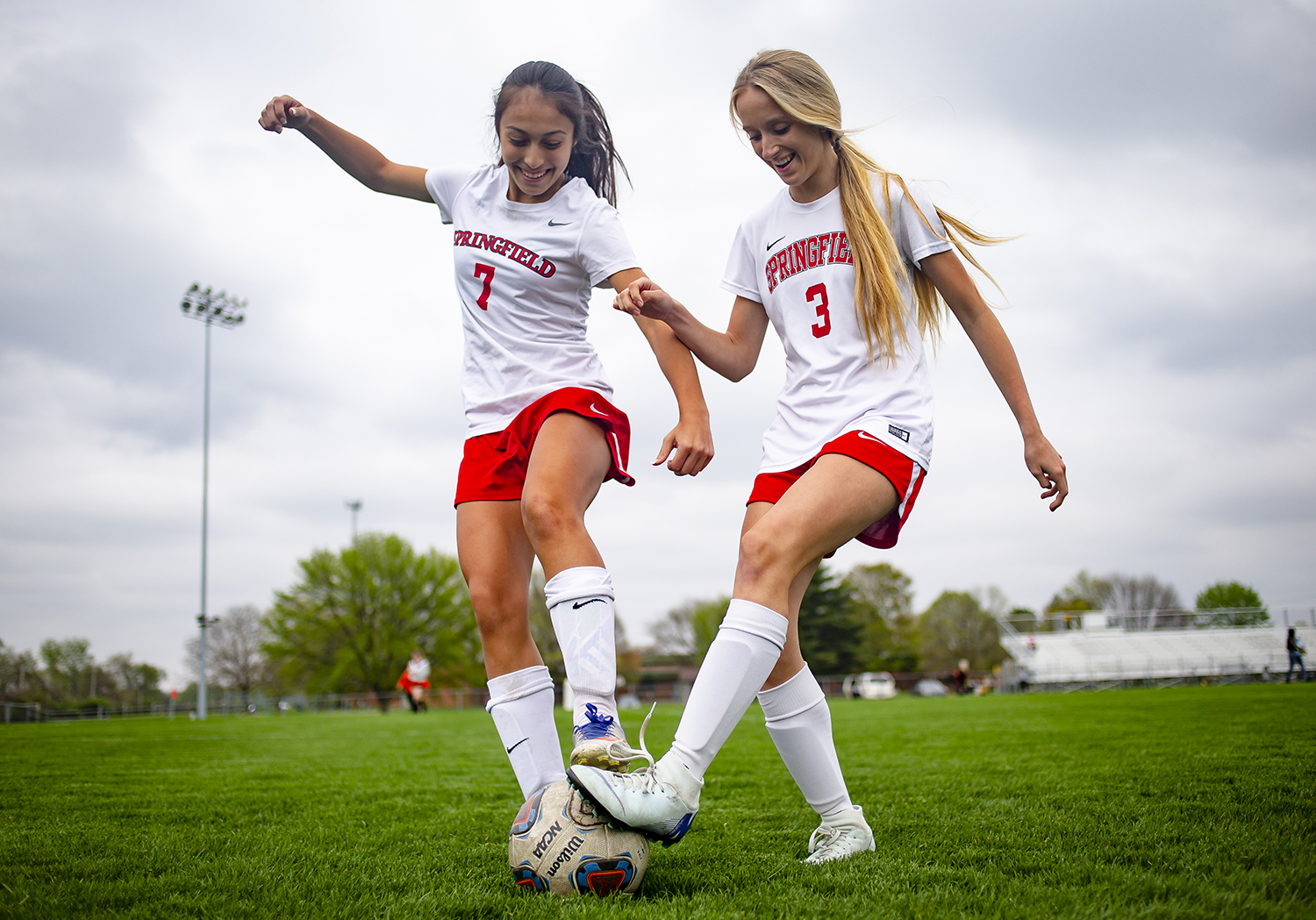 Springfield High School's Maria Jorquera, left, and Morgan Gill, right, have been playing soccer together since they were five years old on the same YMCA team and the duo are part of a Senators team at the top of the CS8 rankings with Chatham and currently undefeated in the league. [Justin L. Fowler/The State Journal-Register]