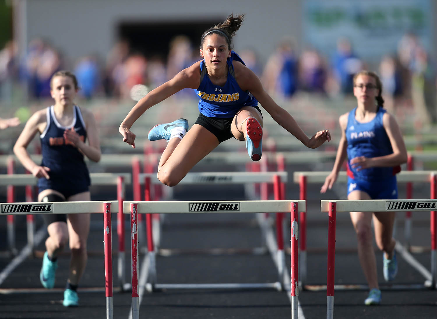 Maroa-Forsyth's Lillians Amettis wins the Girls 100m Hurdles with a time of 17.21 during the Sangamo Conference Track Meet at Pleasant Plains High School, Wednesday, May 1, 2019, in Pleasant Plains, Ill. [Justin L. Fowler/The State Journal-Register]