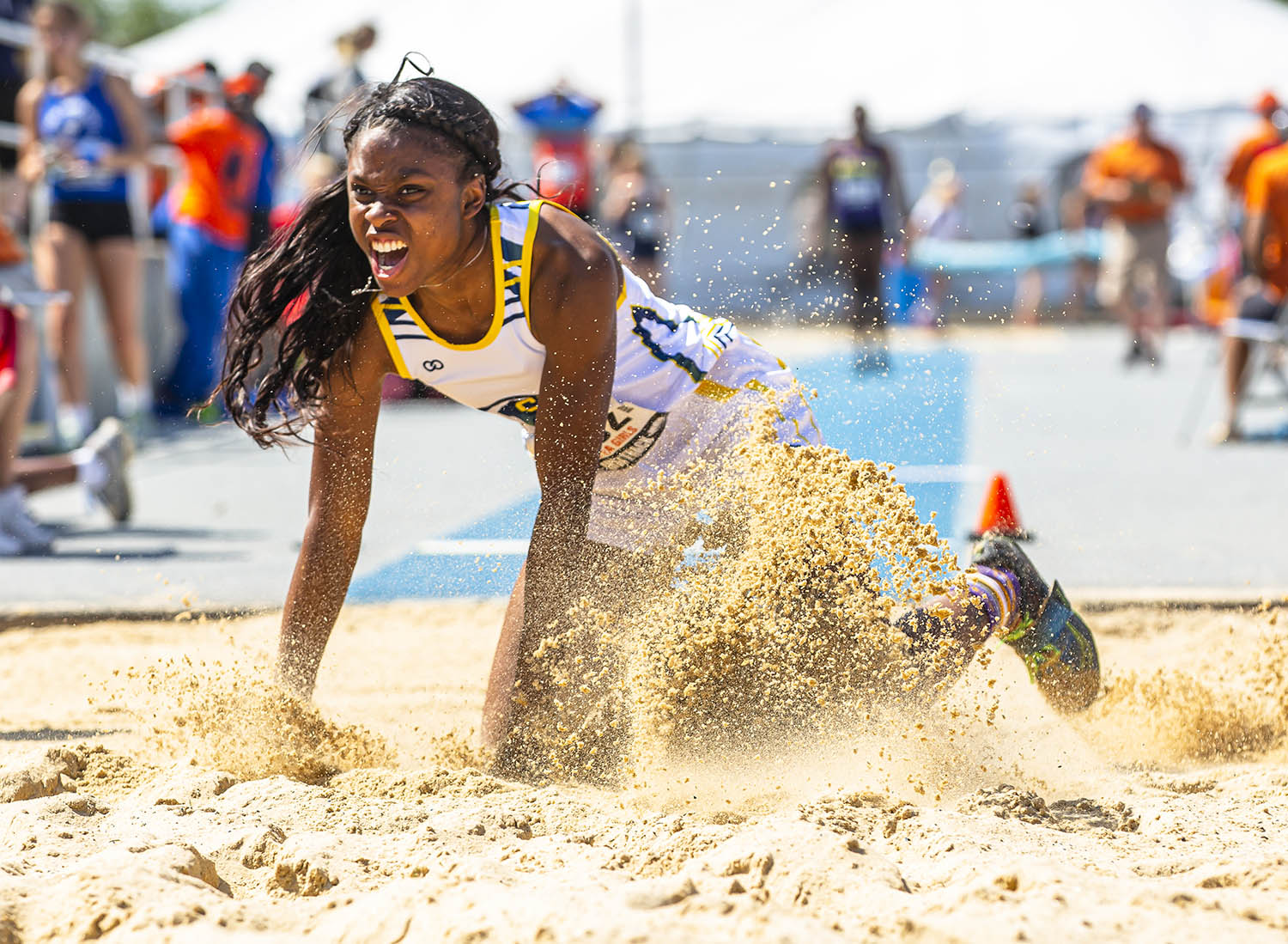 Southeast's Serena Bolden wins the Class 2A Long Jump with a jump of 19-00.75 during the IHSA Girls Track & Field State Finals at O'Brien Field on the campus of Eastern Illinois University, Saturday, May 18, 2019, in Charleston, Ill. [Justin L. Fowler/The State Journal-Register]