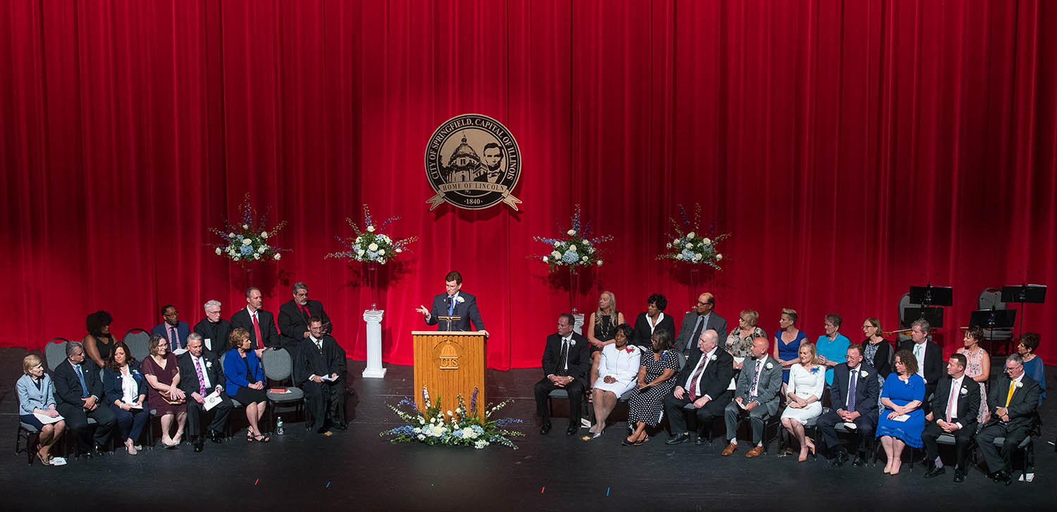 Springfield mayor Jim Langfelder delivers his inaugural address during the City of Springfield 2019 Inaugural Ceremony at Sangamon Auditorium Wednesday, May 22, 2019. [Ted Schurter/The State Journal-Register]