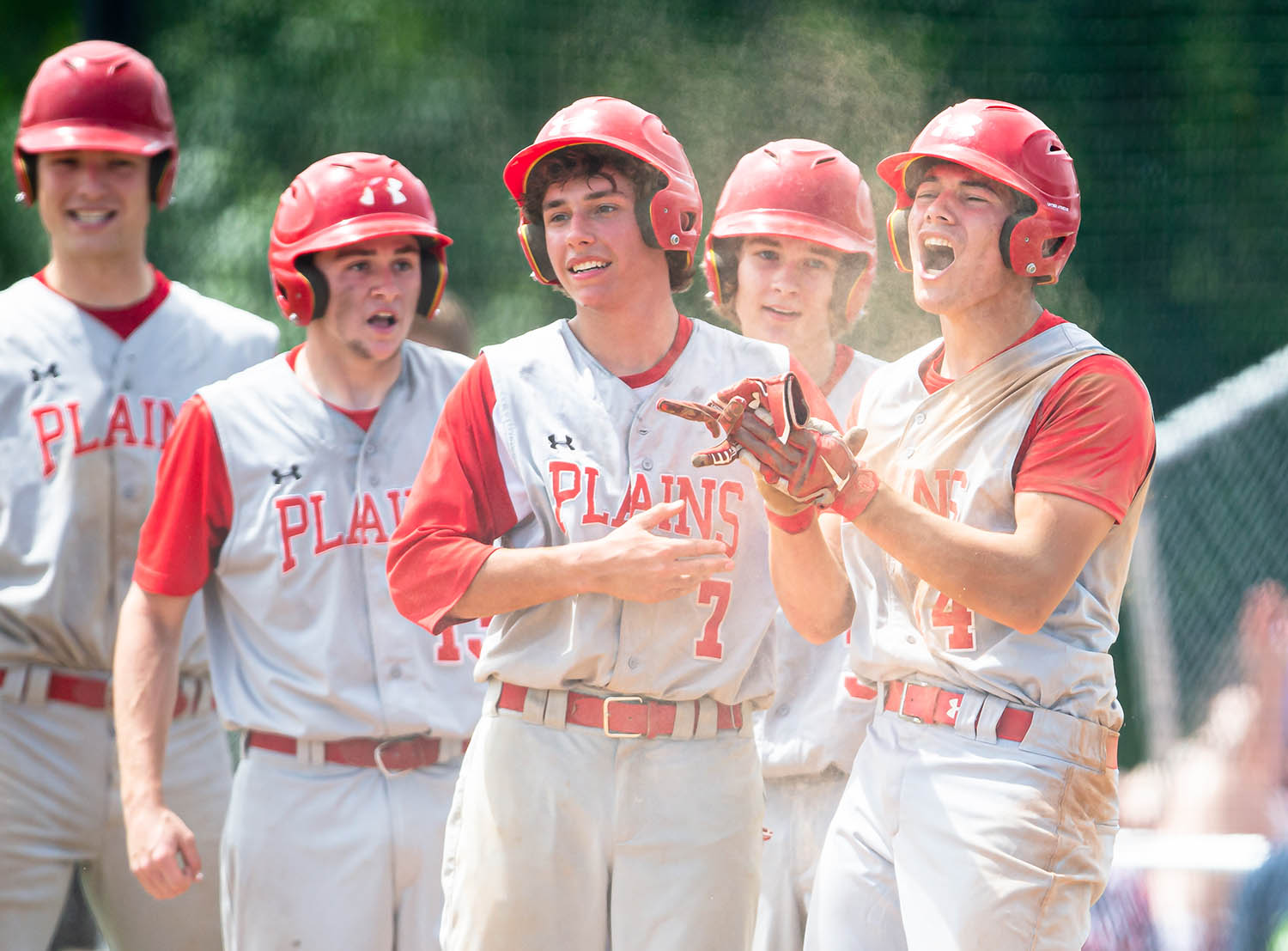 Pleasant Plains' Joe Lee (14) and Jack Shaffer (7) celebrate after Lee beat the throw home and scored a run off a 3 RBI triple from Pleasant Plains' Cam Furbeck (23) putting the Cardinals up 10-4 over New Berlin in the 5th Inning in the Class 2A Pleasant Plains Sectional championship game at Reiser Field, Saturday, May 25, 2019, in Pleasant Plains, Ill. [Justin L. Fowler/The State Journal-Register]